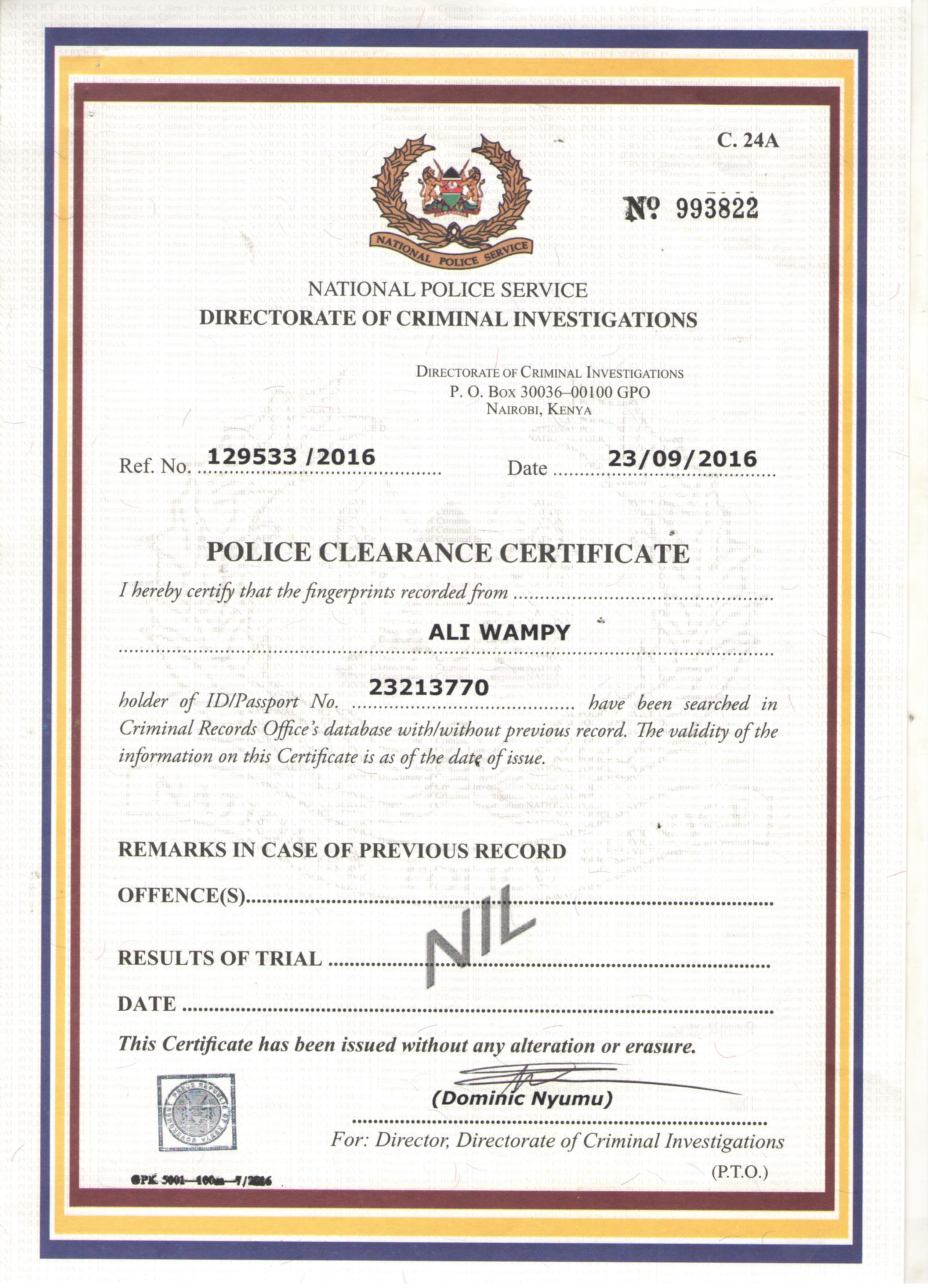 Ali wampy bayt police clearance certificate certificate xflitez Image collections