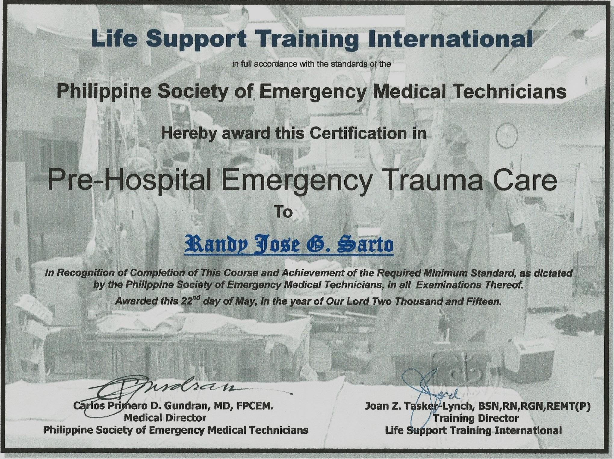 Randy sarto bayt pre hospital emergency trauma care certificate xflitez Images