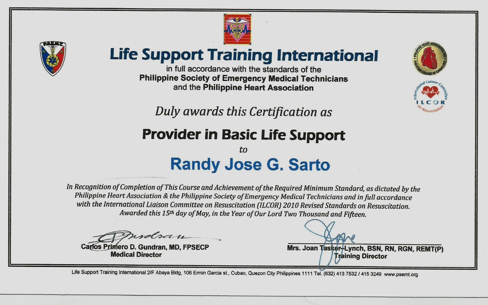 Randy sarto bayt training institute life support training international philippines xflitez Images