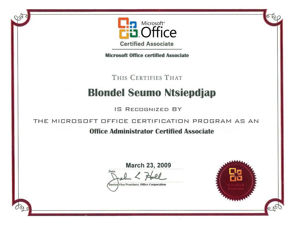 Blondel seumo bayt office administrator certified associate certificate 1betcityfo Gallery