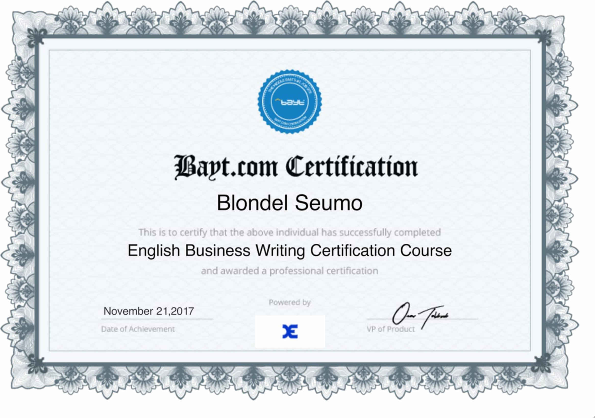 Blondel seumo bayt english business writing certification certificate 1betcityfo Gallery