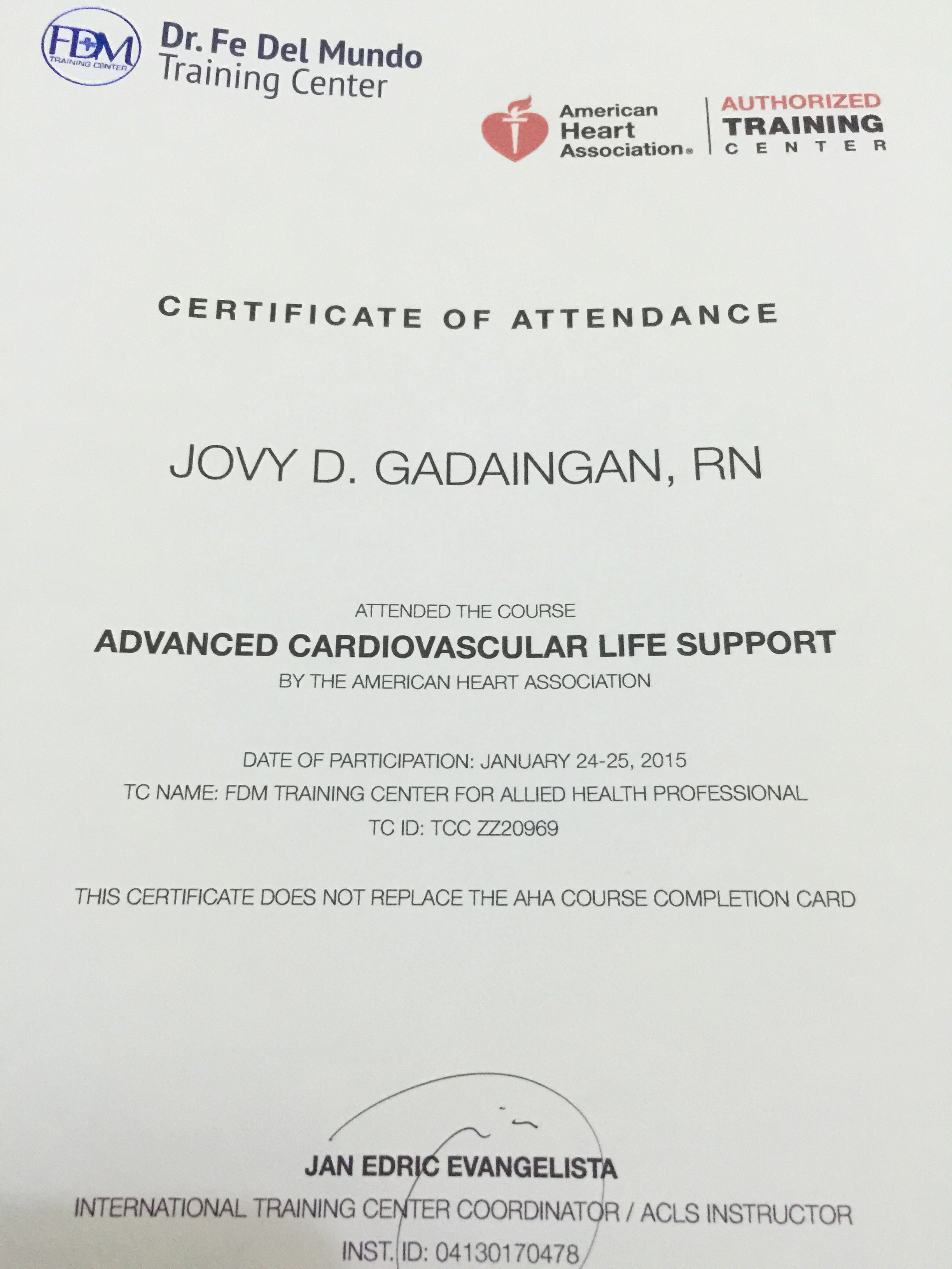 Jovy gadaingan bayt advanced cardiac life support certificate xflitez Gallery