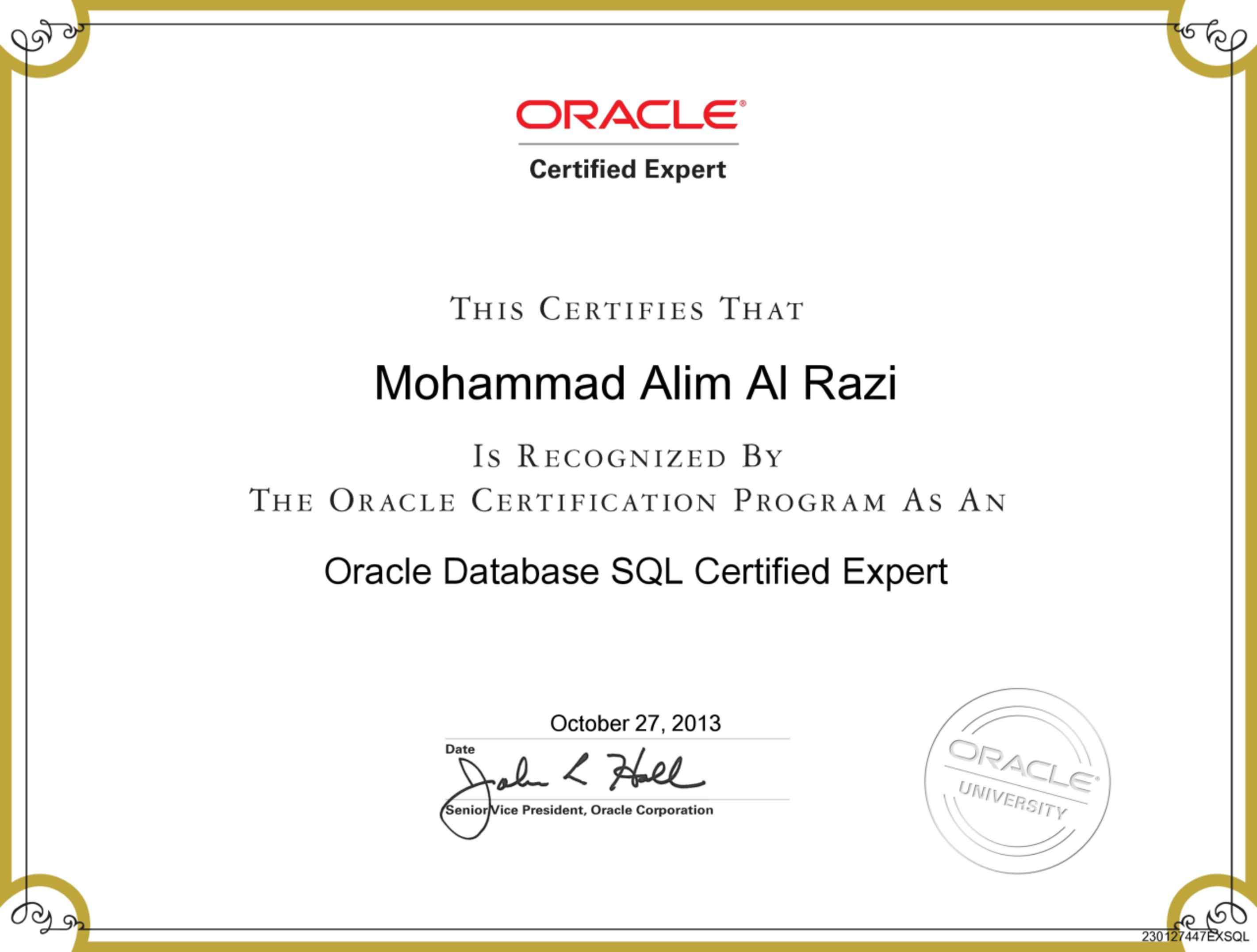 Mohammad alim al razi bayt oracle database sql certified expert certificate 1betcityfo Image collections