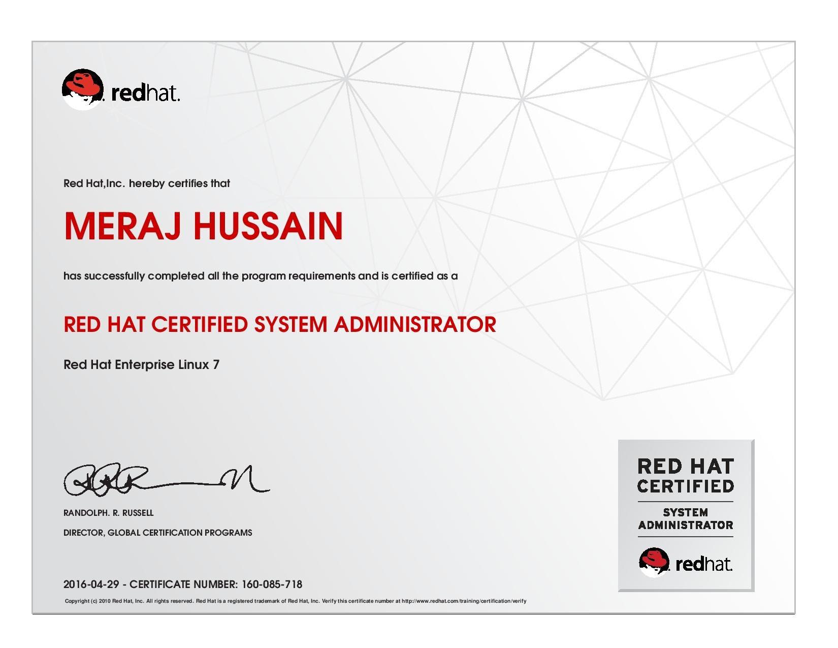 Meraj hussain bayt red hat certified system administrator certificate xflitez Gallery