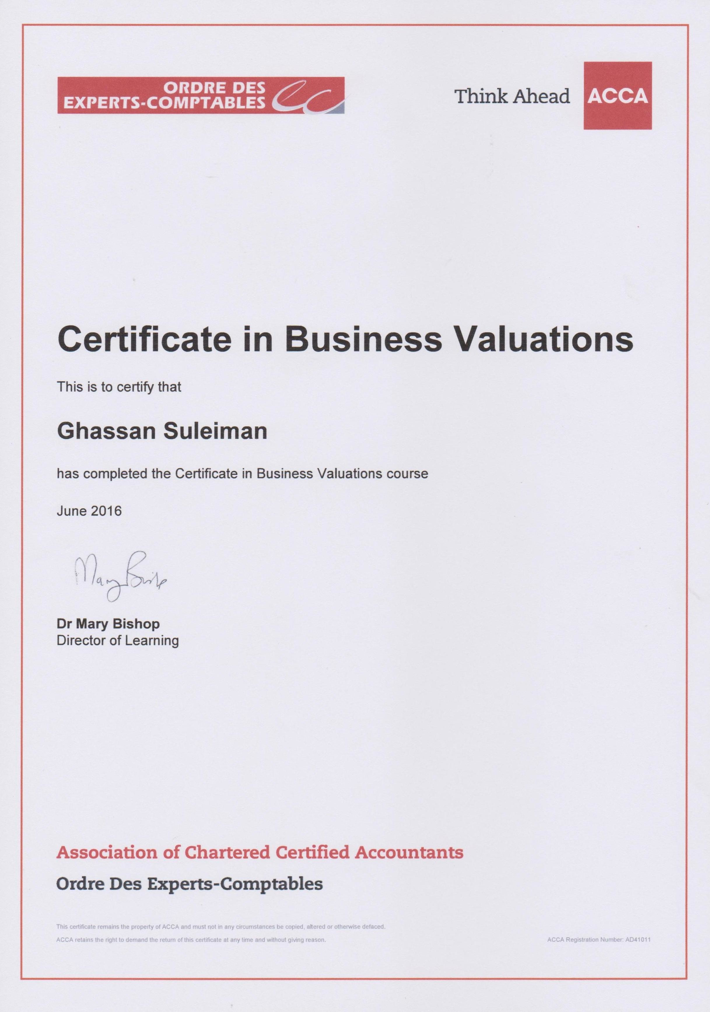 Ghassan suleiman cfc bayt certificate in business valuations certbv acca certificate 1betcityfo Gallery