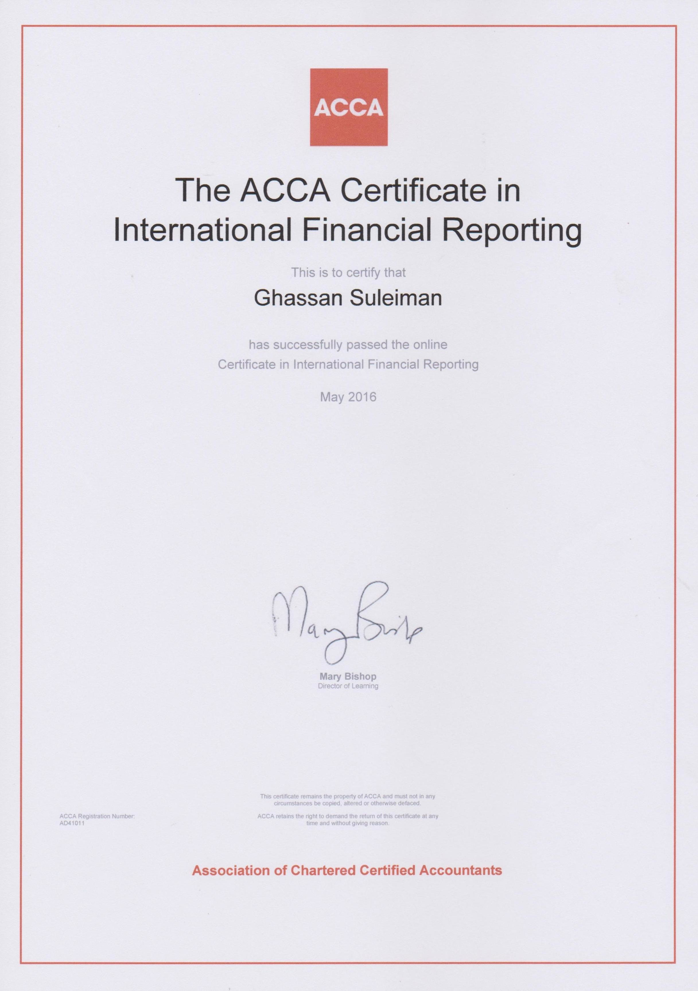 Ghassan suleiman cfc bayt certificate in international financial reporting certifr acca certificate 1betcityfo Gallery