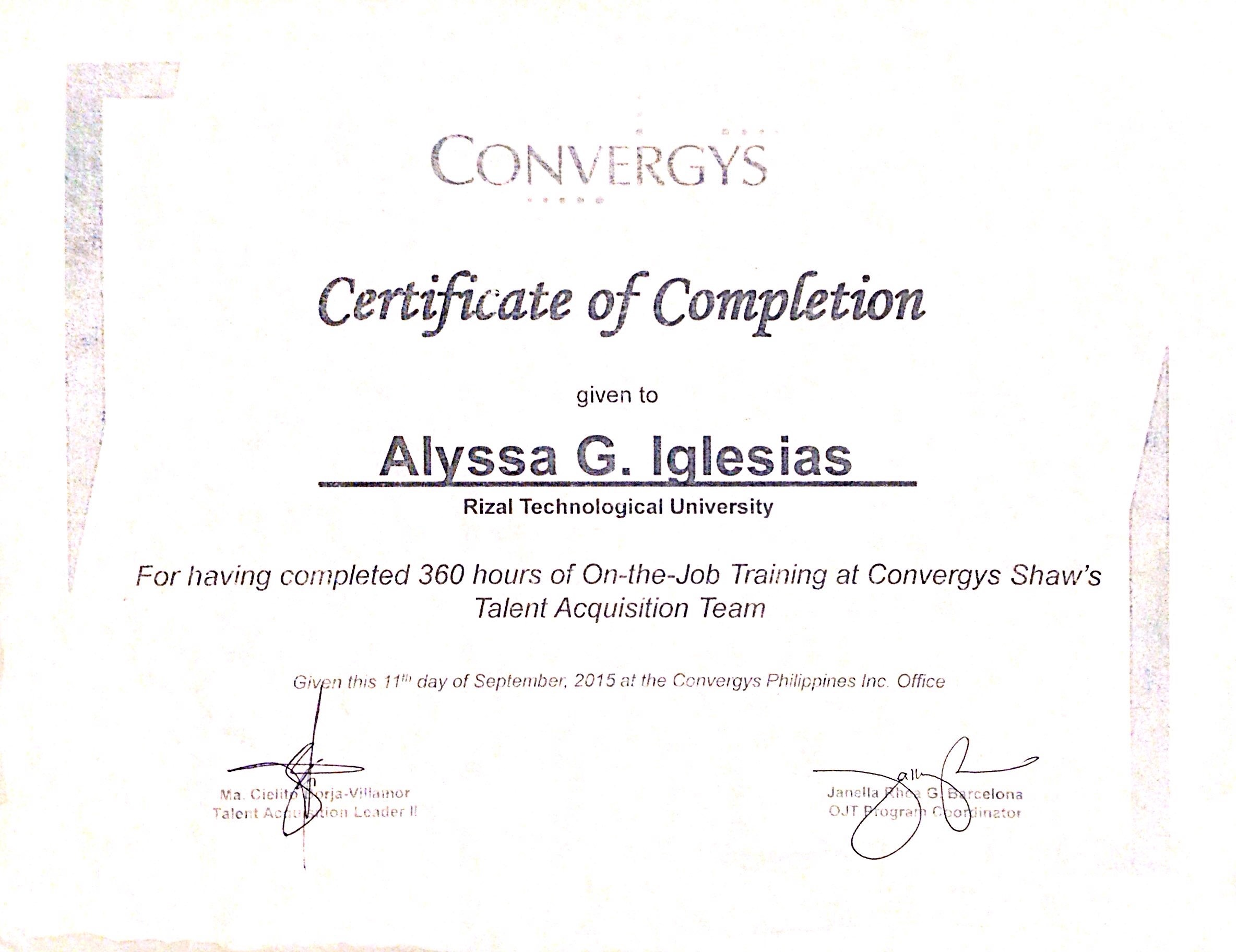 On the job training certificate of completion insrenterprises on yadclub Gallery