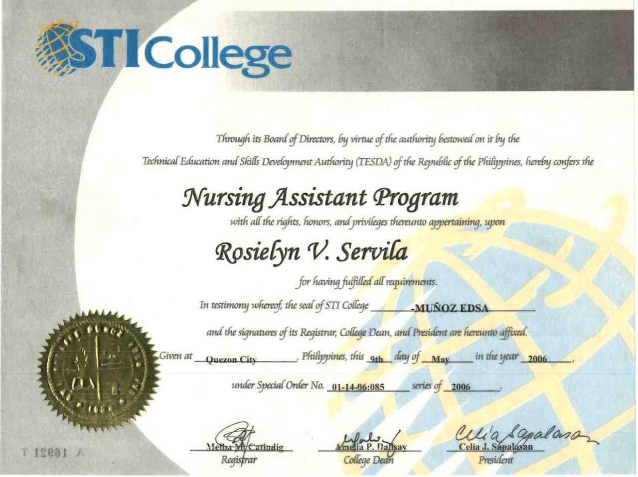 Rosielyn vequiso servila bayt diploma nursing assistant program yelopaper Images
