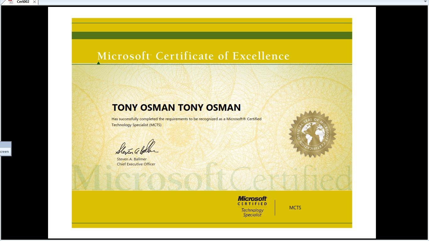 Tony othman tony bayt mcts certificate 1betcityfo Gallery