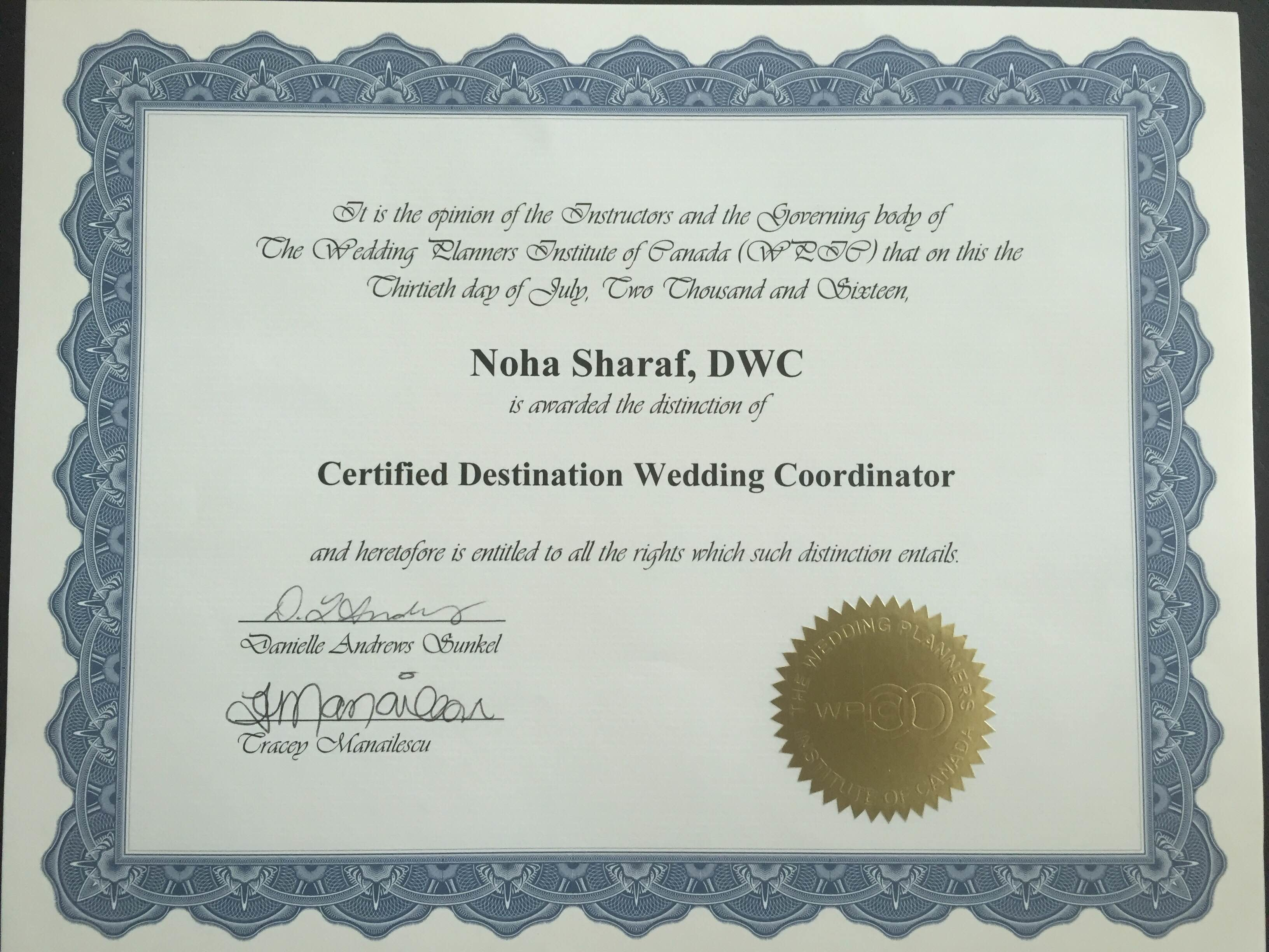 At The Wedding Planners Institute Of Canada