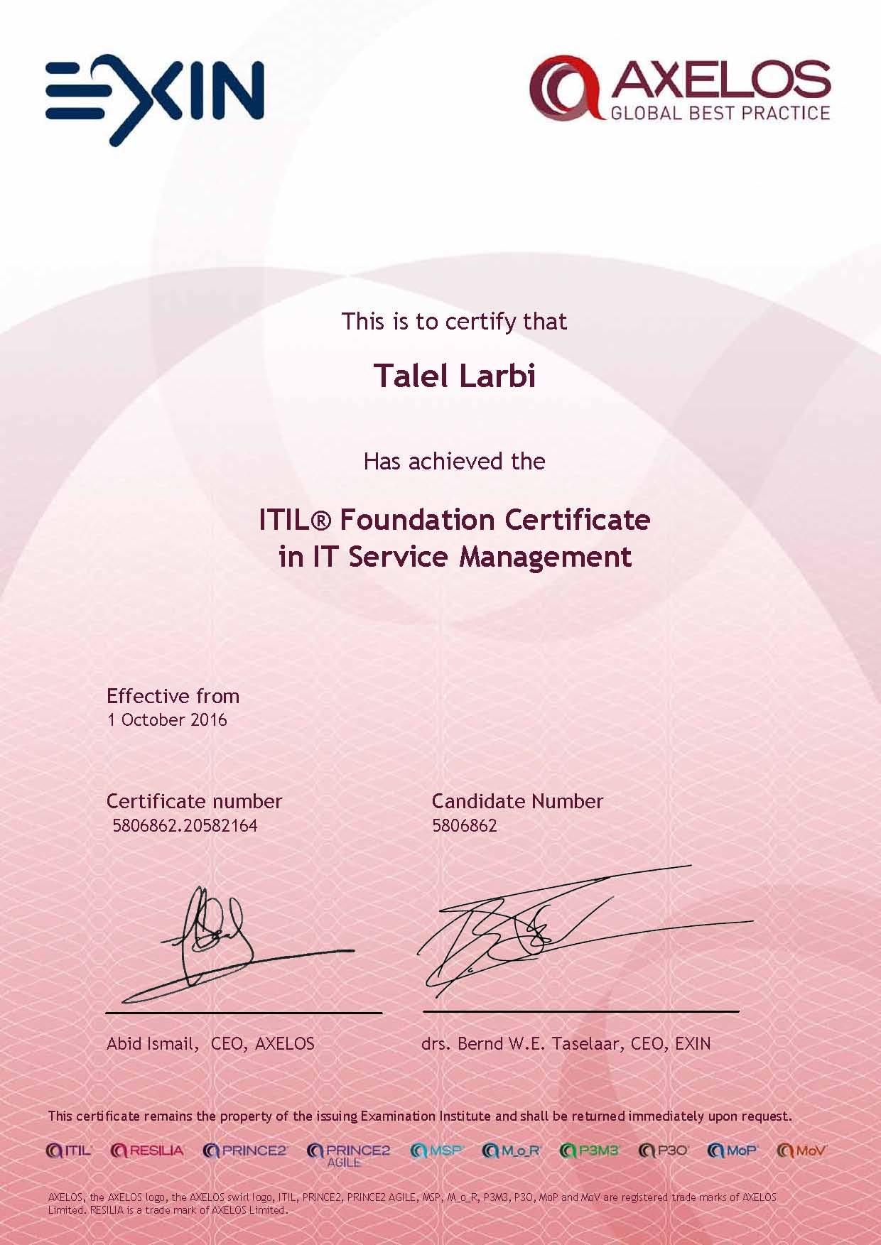 Talel larbi ceh pmp ccna security itil mcsa bayt itil foundation certificate in it service management itil certificate xflitez Image collections