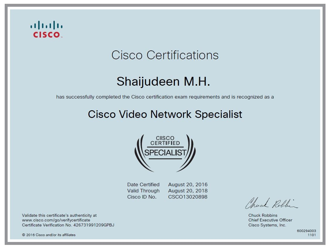 Shaijudeen m h bayt cisco video network specialist certificate xflitez Gallery