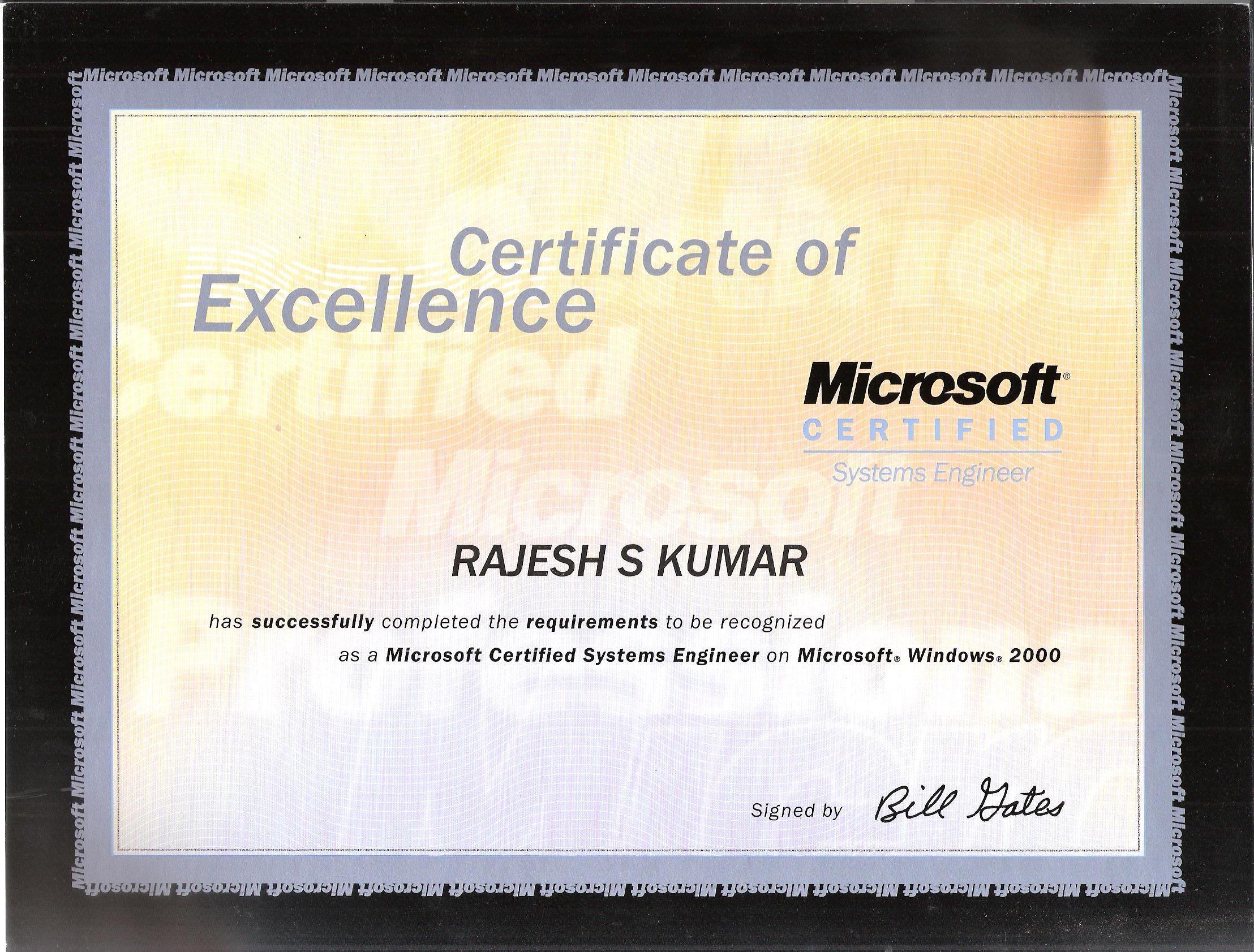 Rajesh Kumar S Bayt – Microsoft Certificate of Excellence