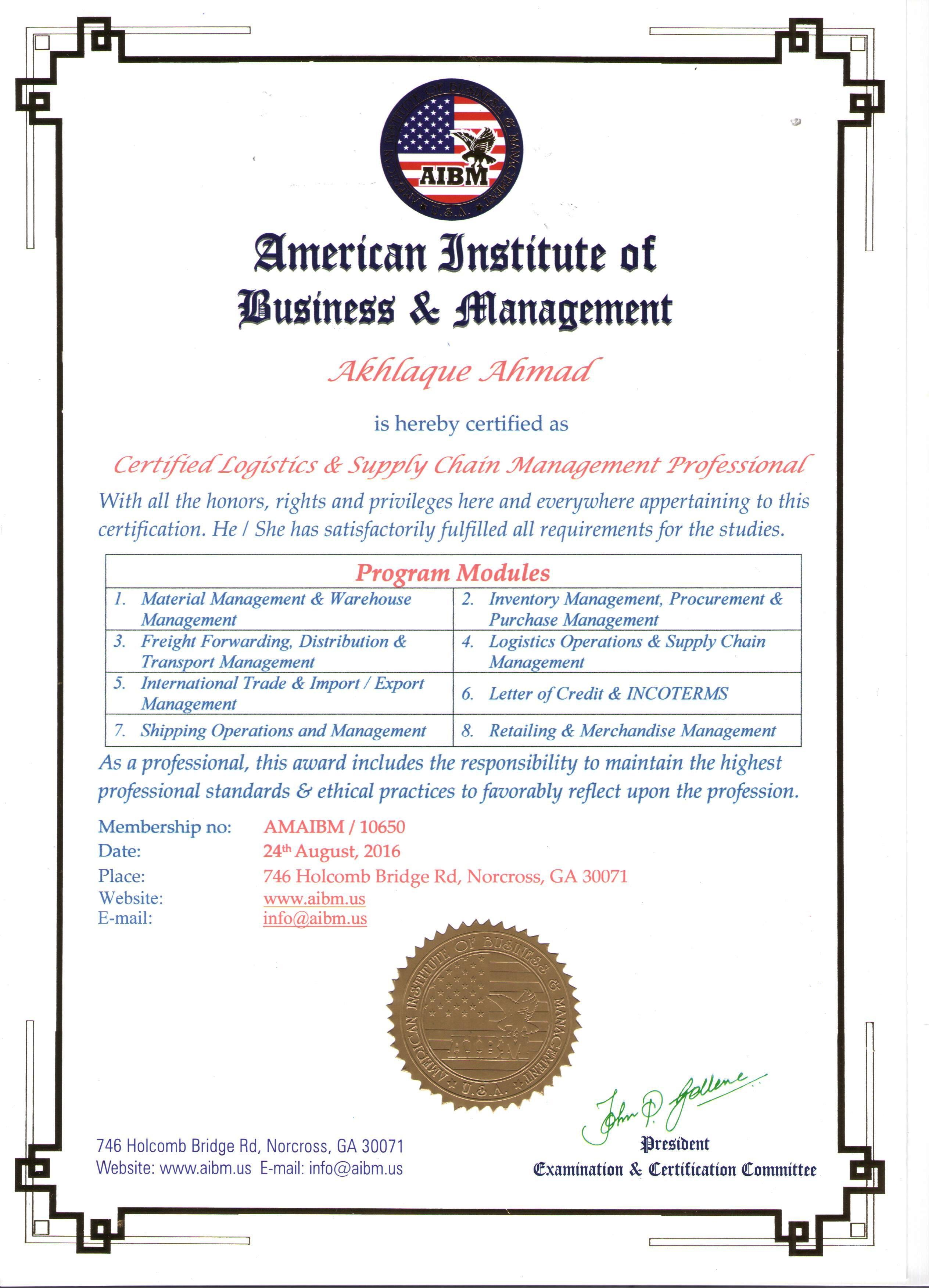 Akhlaque ahmad bayt logistic supply chain professional management from iabm certificate 1betcityfo Image collections