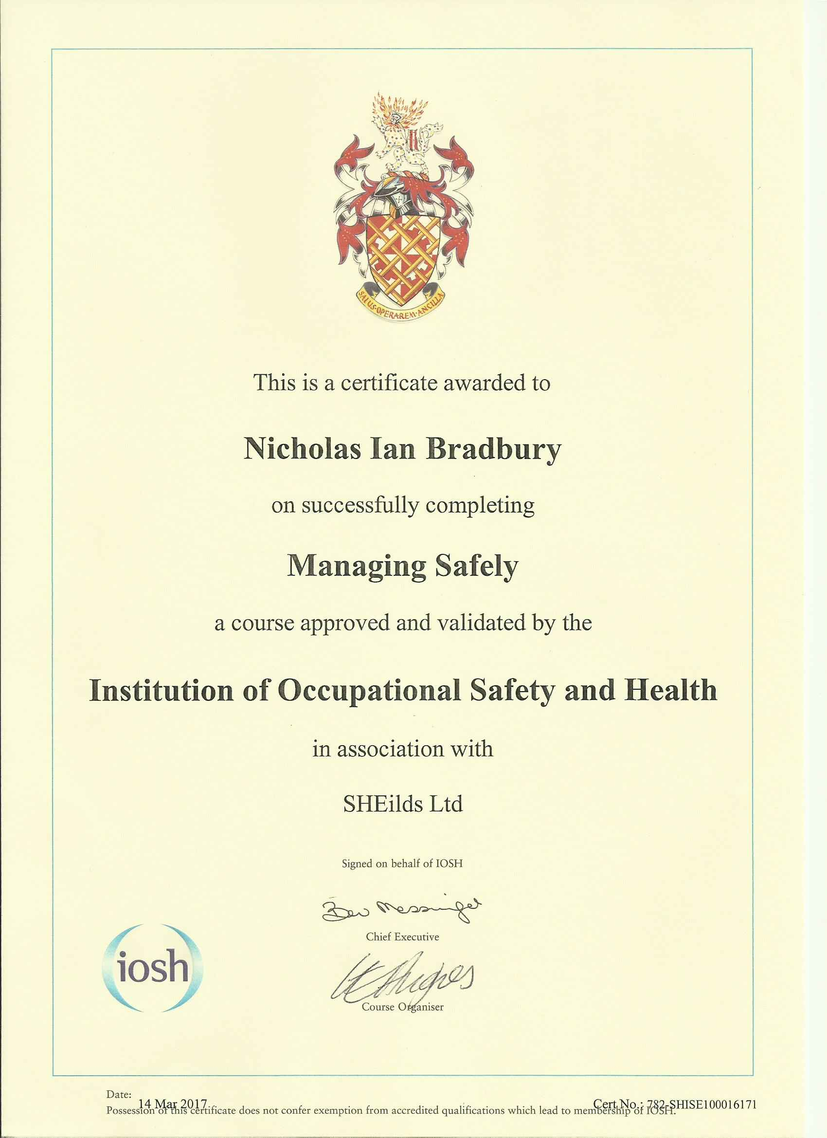 IOSH Level 4 Managing Safely Formation