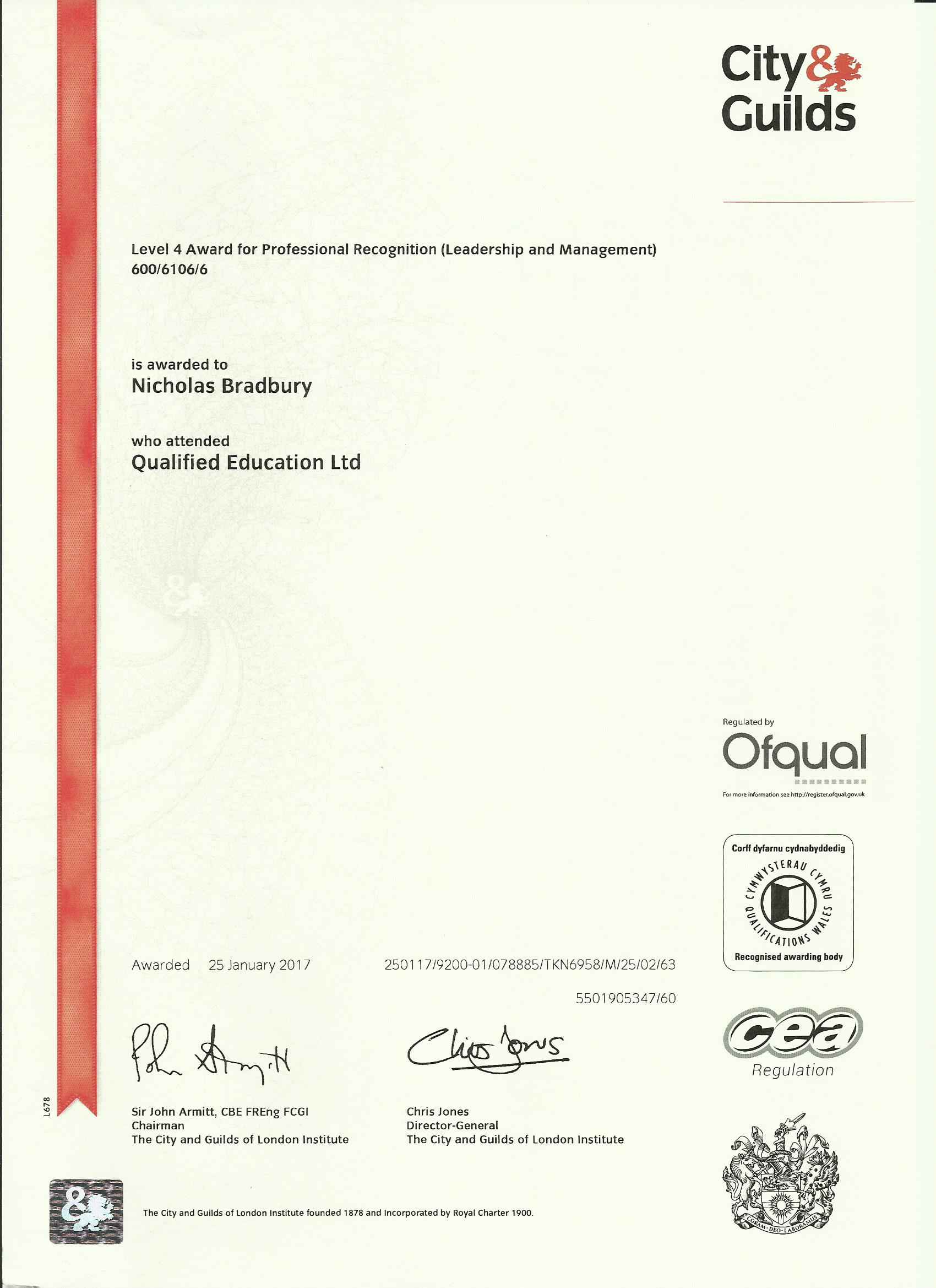 Level 4 Award Professional Recognition Formation