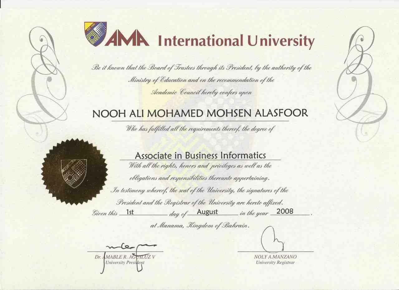Nooh alasfoor bayt 2006 2007 diploma certificate in business informatics from ama international university xflitez Gallery