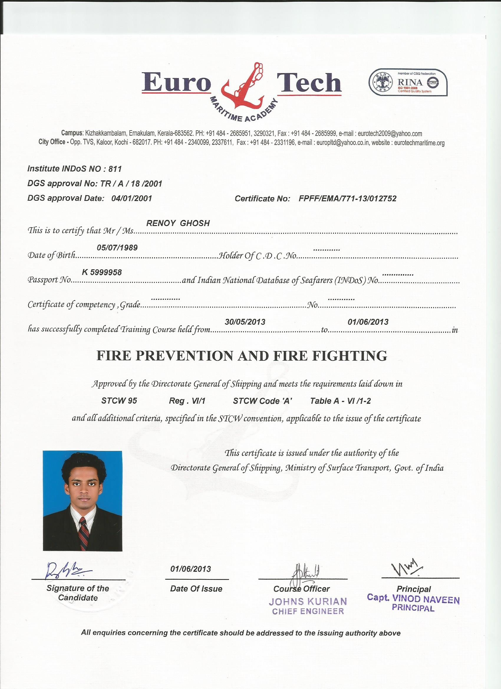 Renoy ghosh bayt stcw 95 certificate 1betcityfo Choice Image