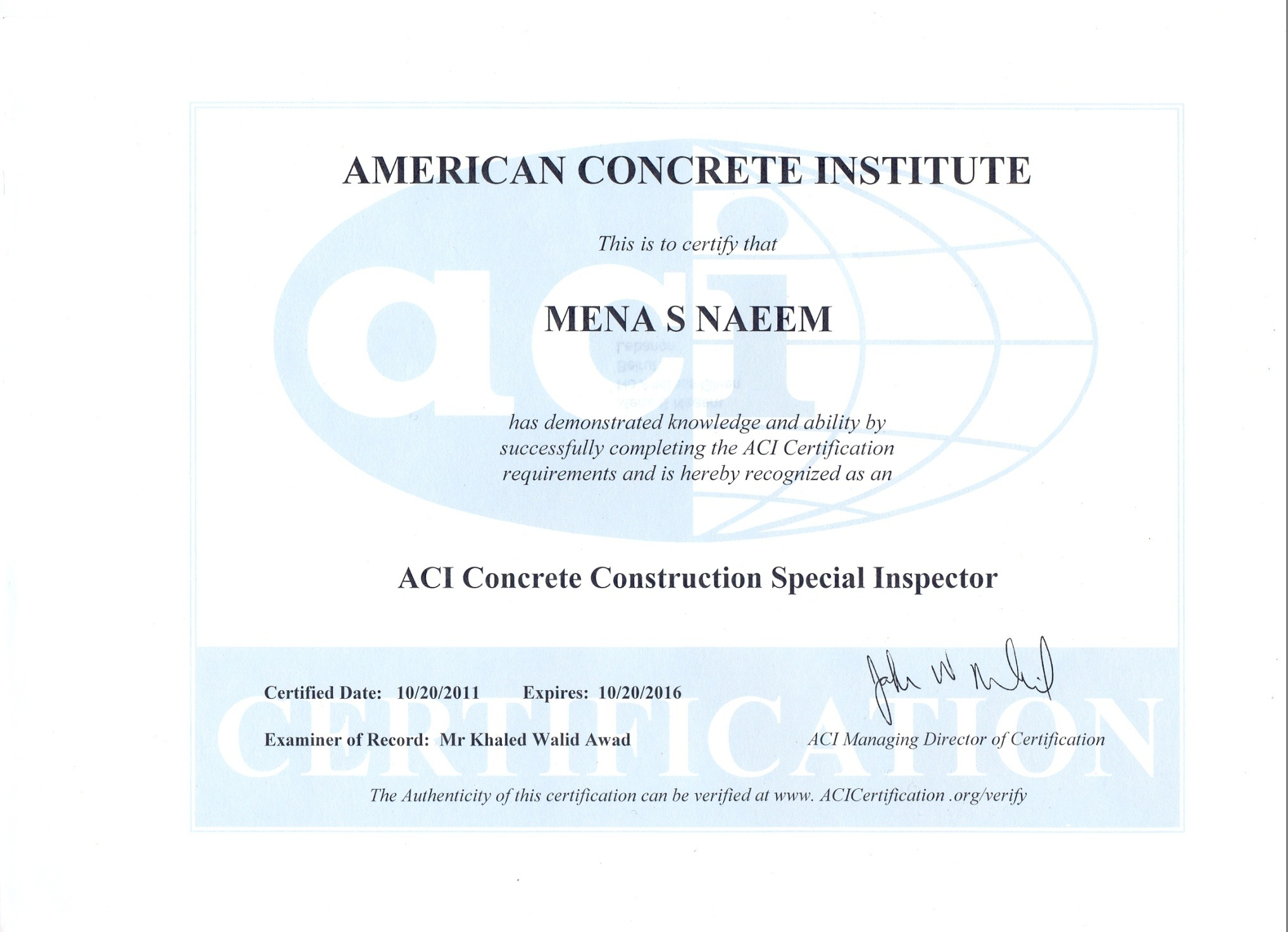 Mena soliman naeem soliman soliman bayt aci concrete construction special inspector certificate xflitez Images