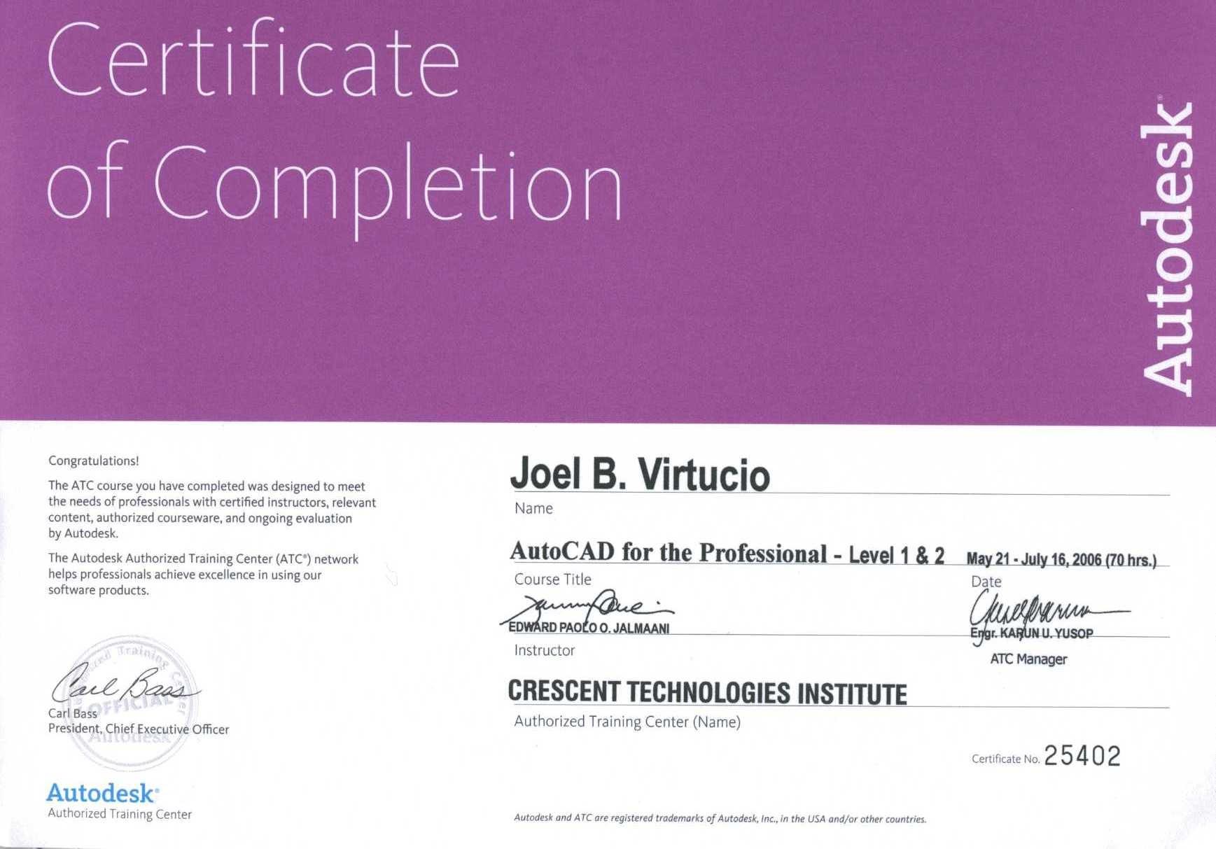 Joel virtucio bayt autocad for professional level 1 2 certificate xflitez Gallery