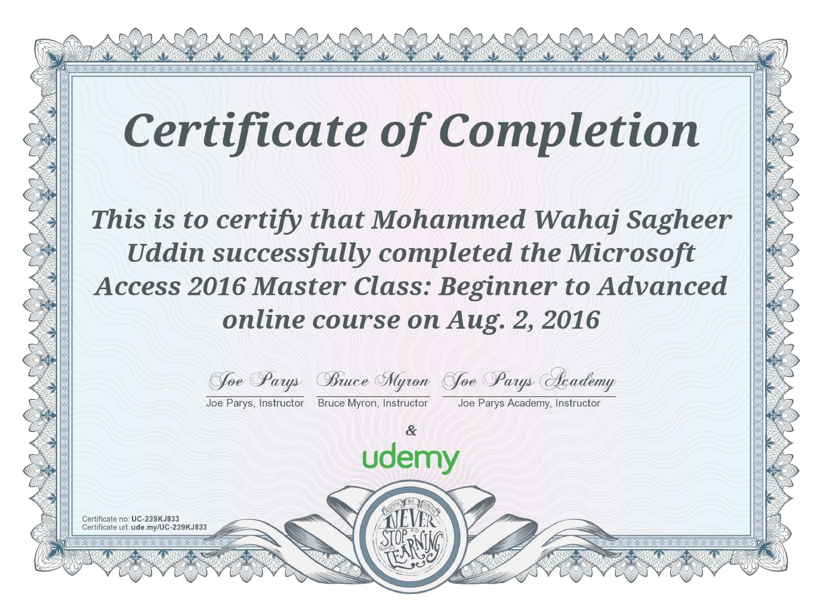 Mohammed wahaj sagheer uddin bayt microsoft access 2016 master class certificate 1betcityfo Image collections
