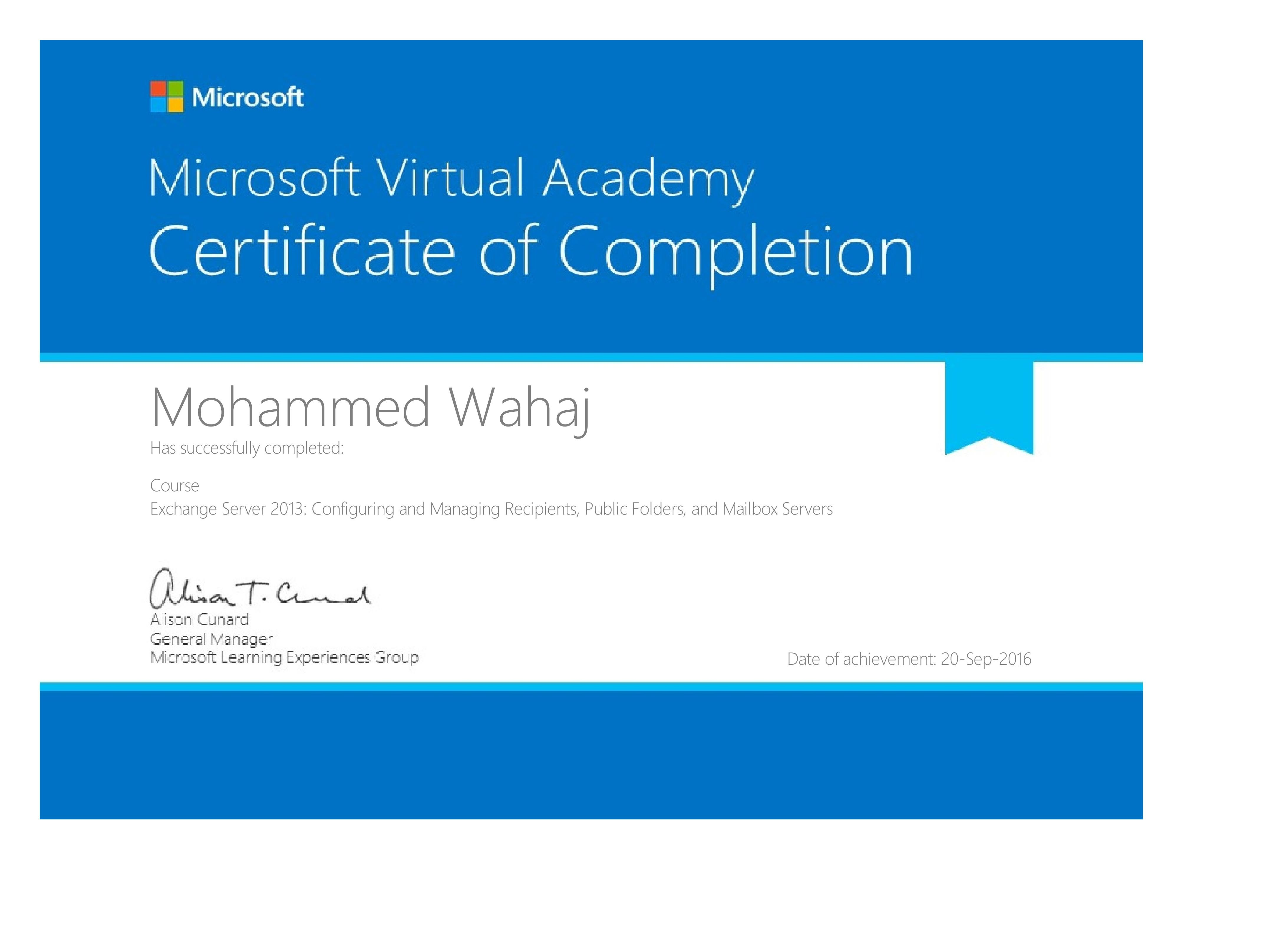 Mohammed wahaj sagheer uddin bayt microsoft exchange server 2013 certificate xflitez Images