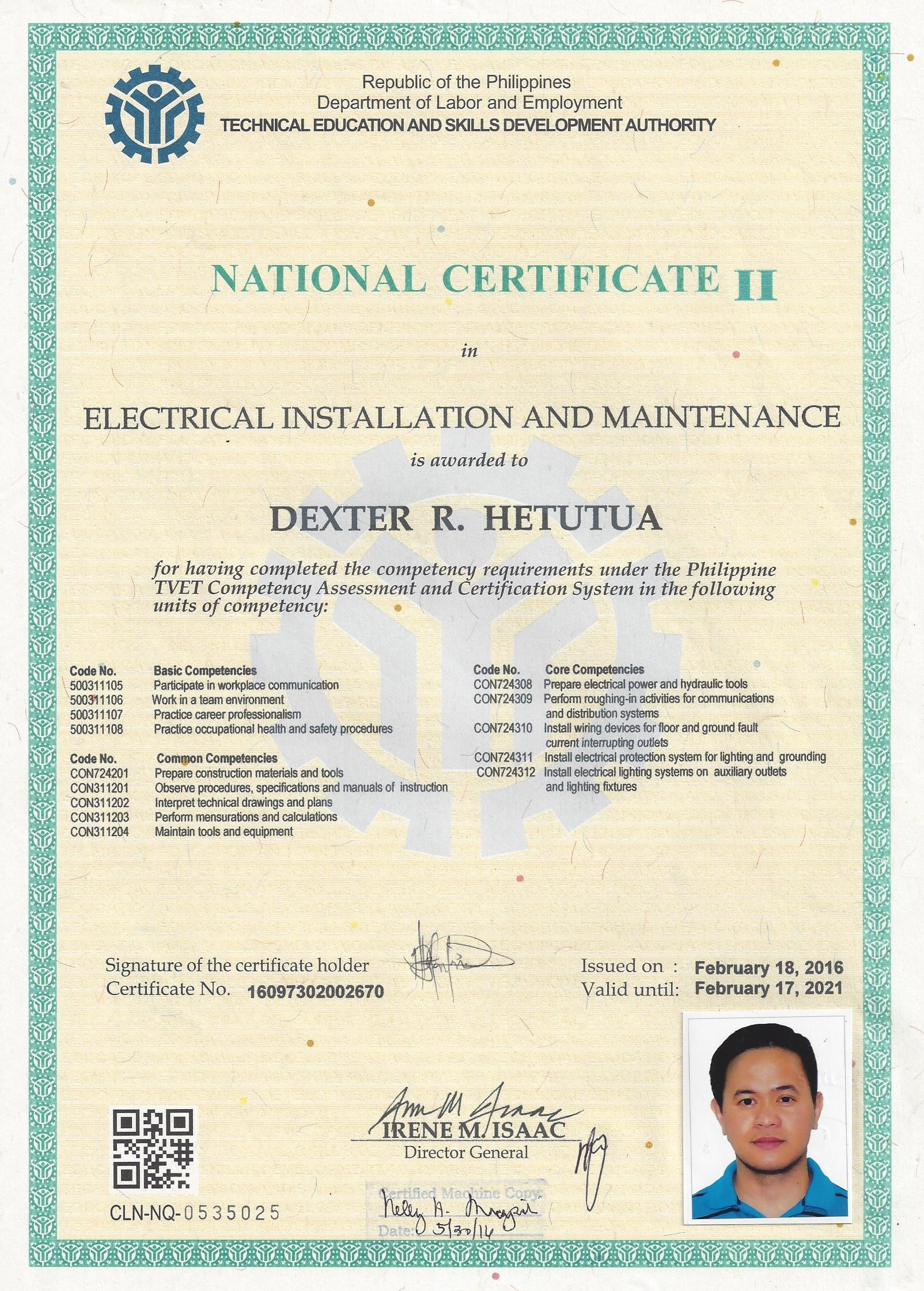 Dexter hetutua bayt electrical installation and maintenance nc ii certificate xflitez Image collections