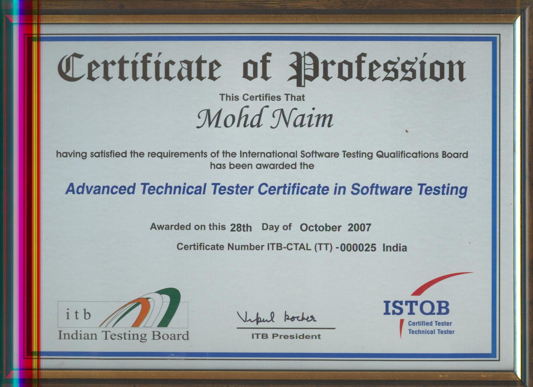Mohd naim bayt istqb advanced technical tester certificate in software testing certificate xflitez Images