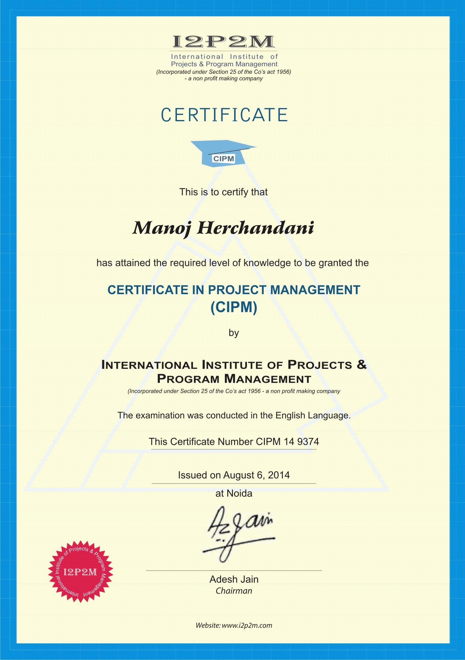 Manoj harchandani bayt at international institute of project program management 1betcityfo Images