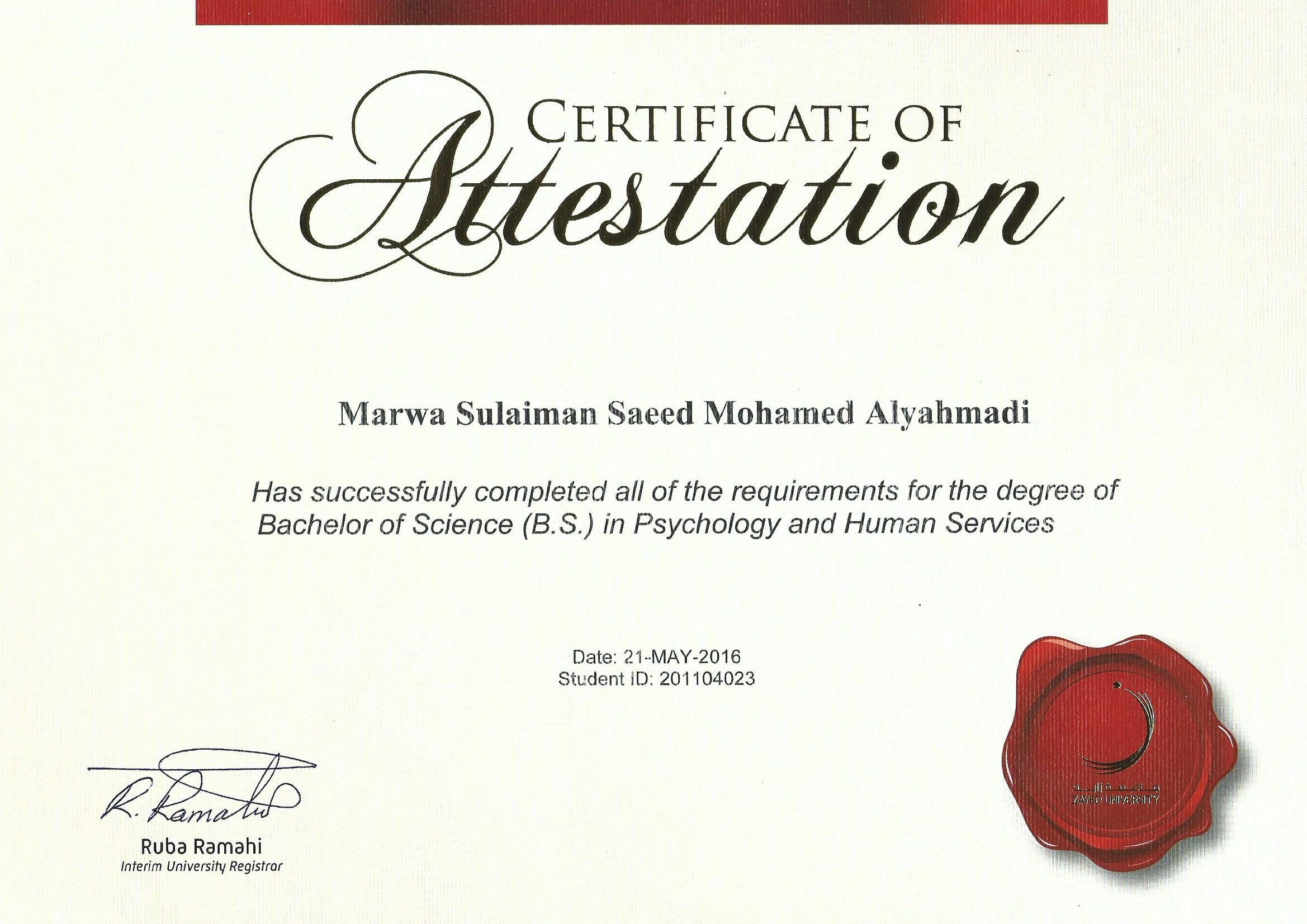 Marwa alyahmadi bayt bachelor of psychology and human services certificate xflitez Image collections