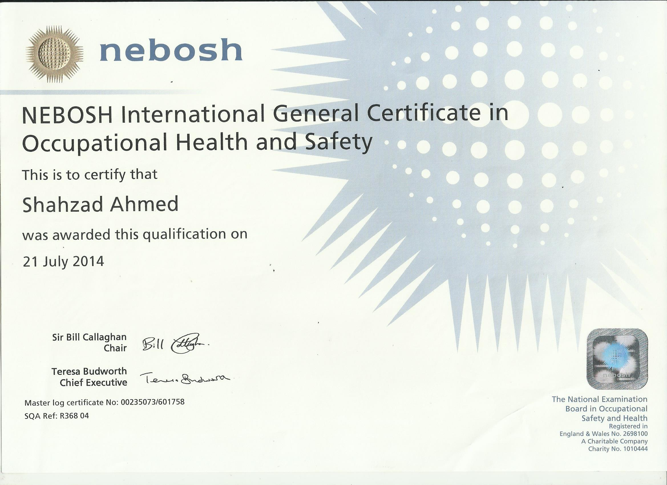 2014 national examination board of occupational health and safety