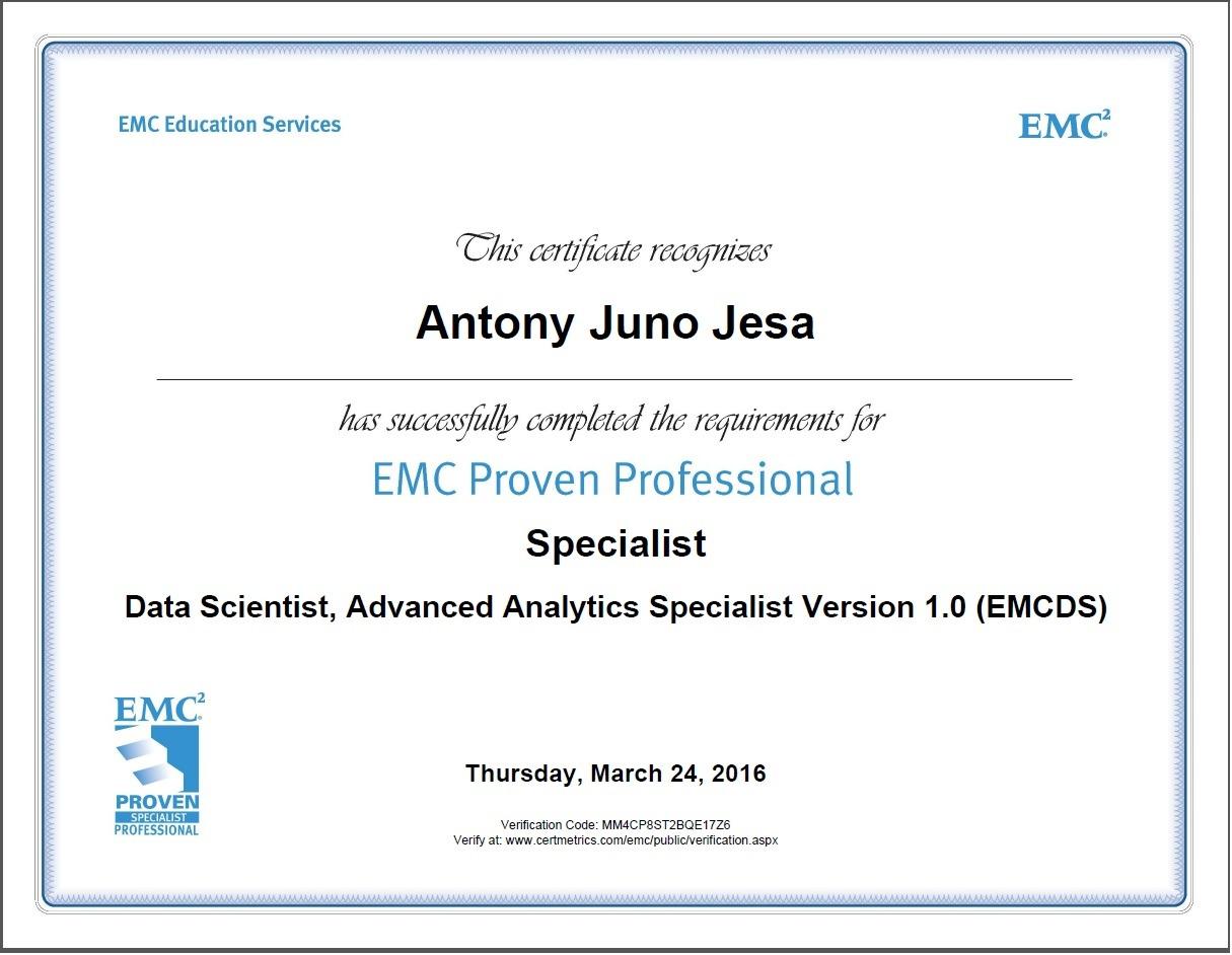 Antony juno jesa bayt emc proven data scientist emcds certificate xflitez Gallery