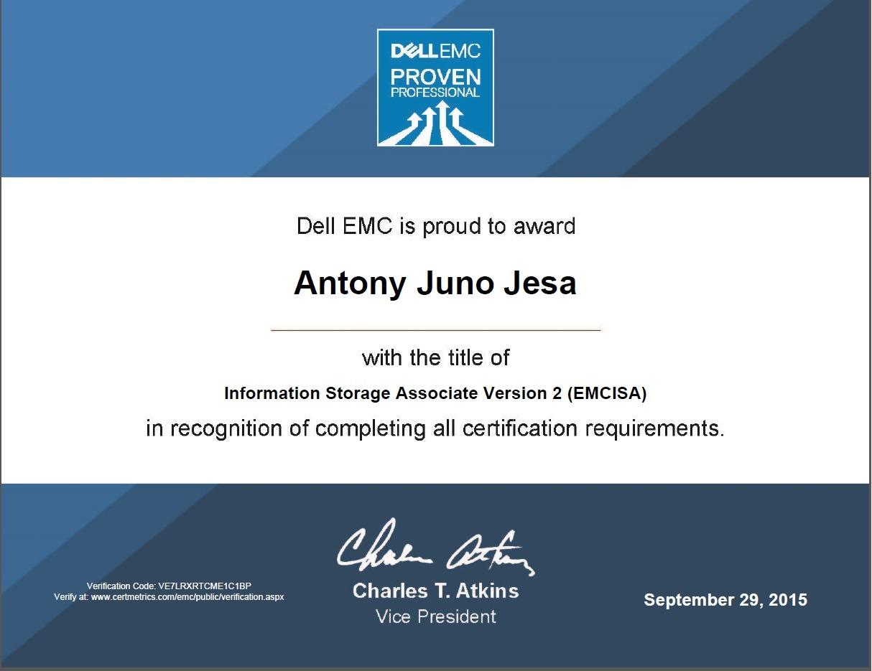 Antony juno jesa bayt information storage associate emcisa certificate xflitez Gallery