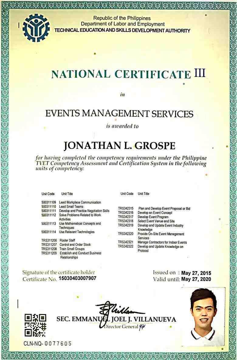 Jonathan grospe bayt national certificate iii nc iii events management services tesda technical education and skills certificate xflitez Images