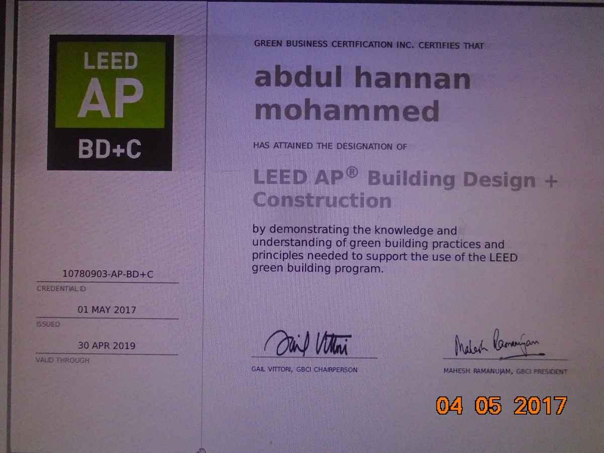 Abdul hannan leed ap cfps bayt upda registered engineer at qatar ministry of municipality urban planning certificate 1betcityfo Gallery