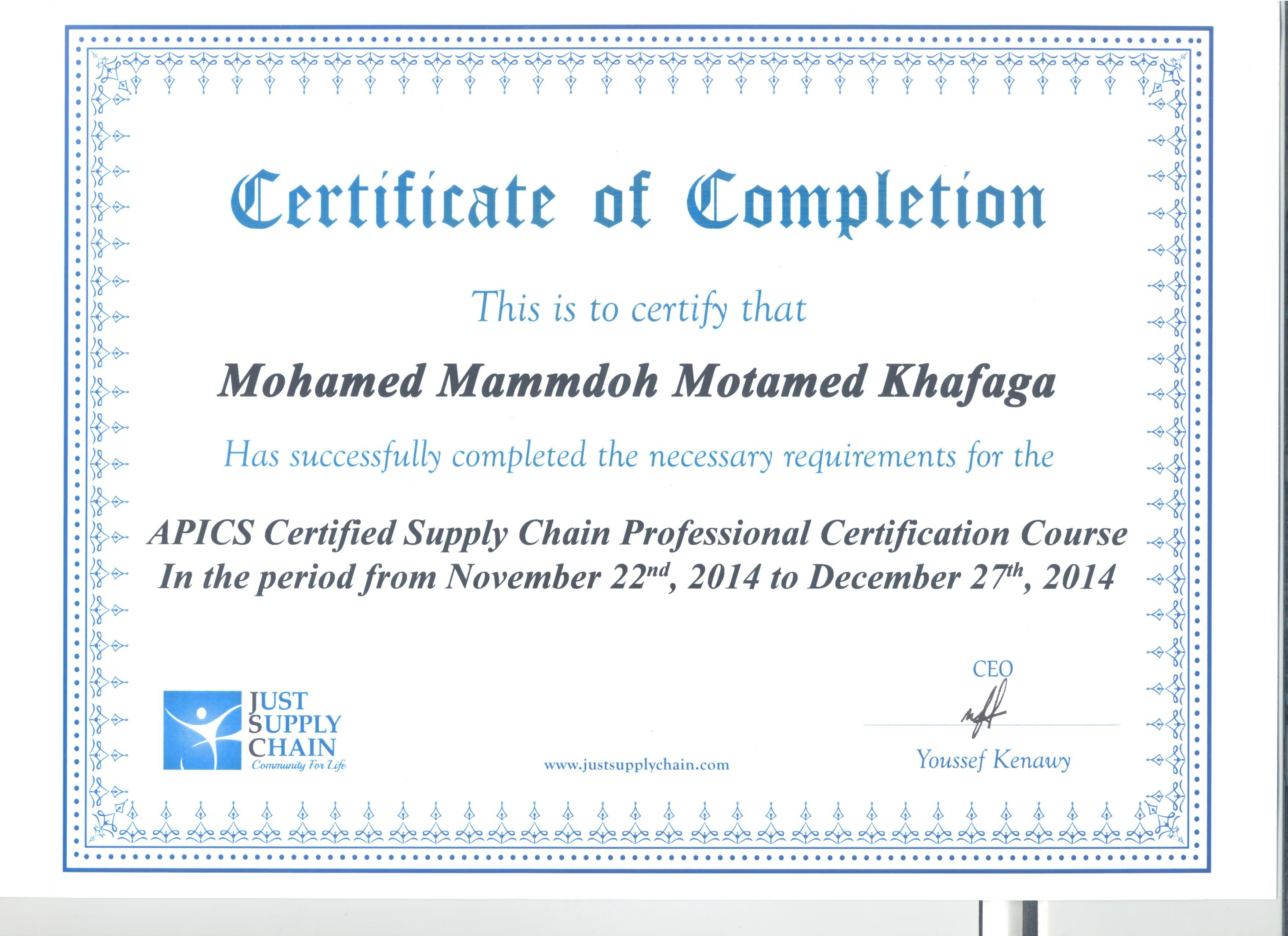 Mohamed mammdouh bayt apics supply chain professional certificate certificate xflitez Choice Image