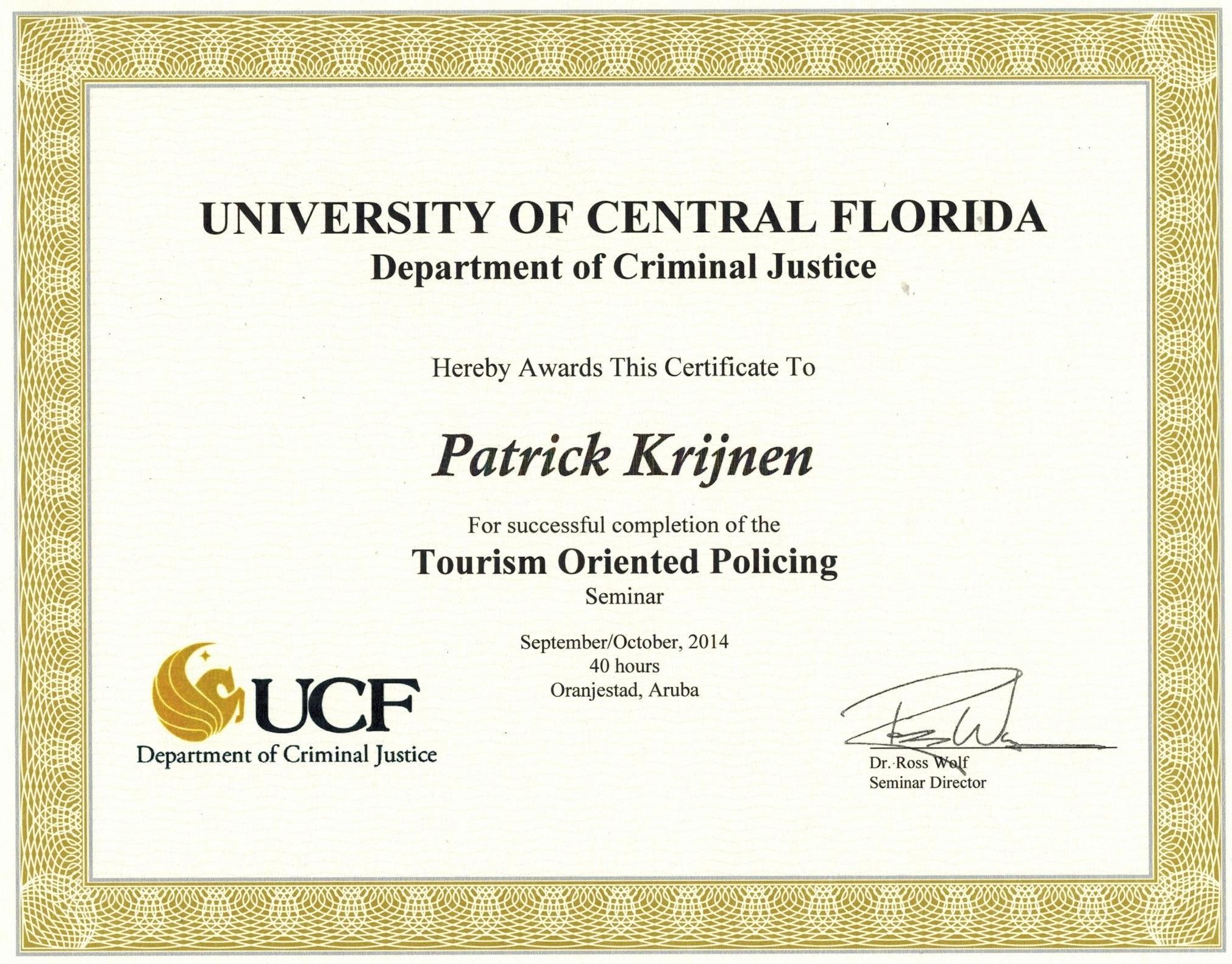 Patrick krijnen bayt tourism oriented policing seminar certificate xflitez Images
