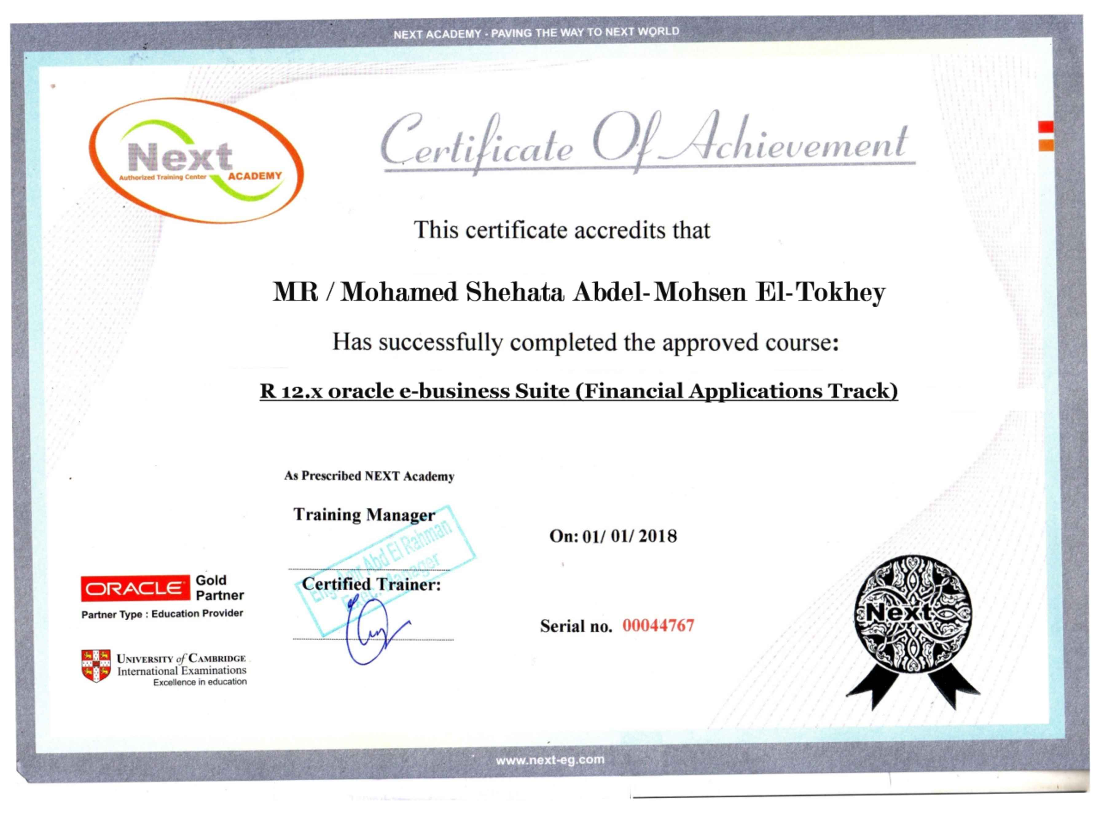 Mohamed eltokhey oracle e business bayt r12x e business suit financial applications track certificate 1betcityfo Gallery