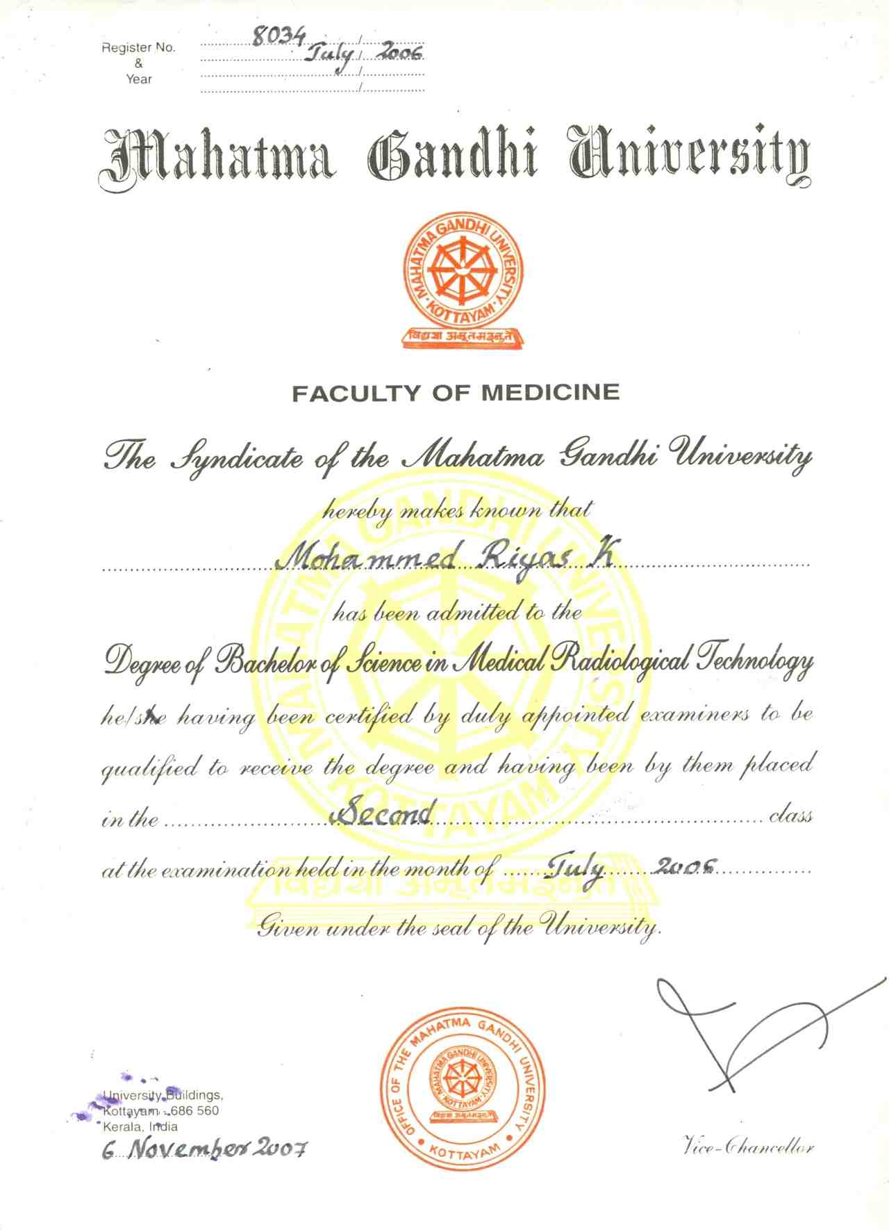 Sample pre degree certificate choice image certificate design sample pre degree certificate image collections certificate mohammed riyas kokkottil bayt name of course university degree yelopaper Image collections
