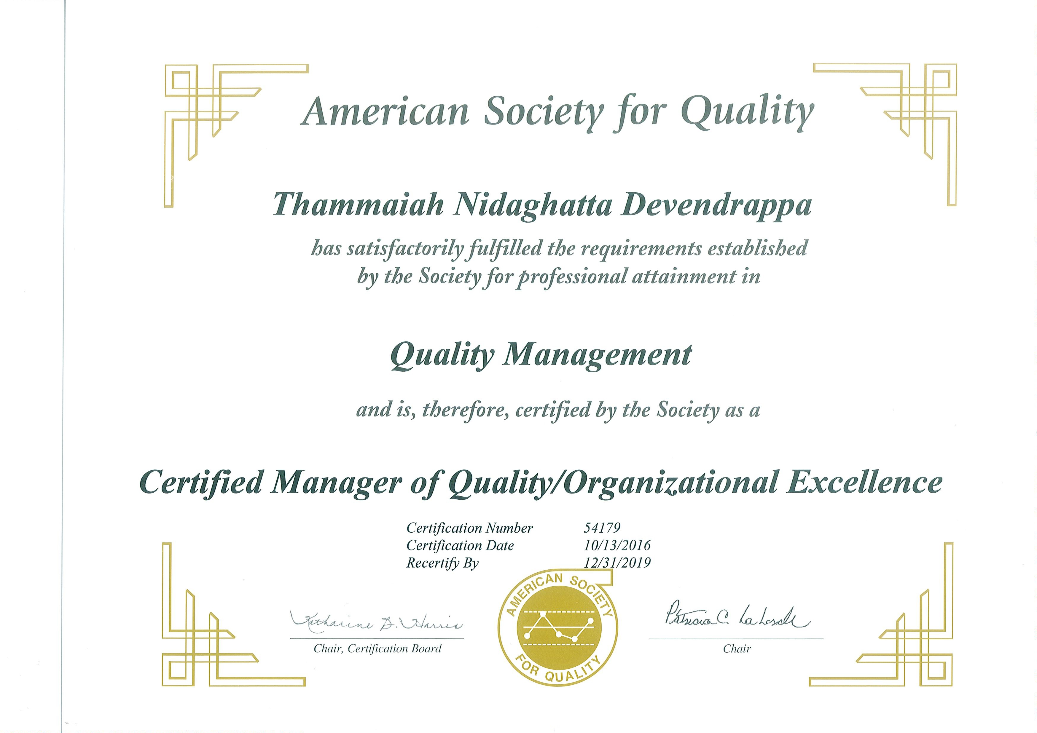 Thammaiah nidaghatta devendrappa bayt certified manager of quality organizational excellence by american society of quality asq certificate xflitez Choice Image
