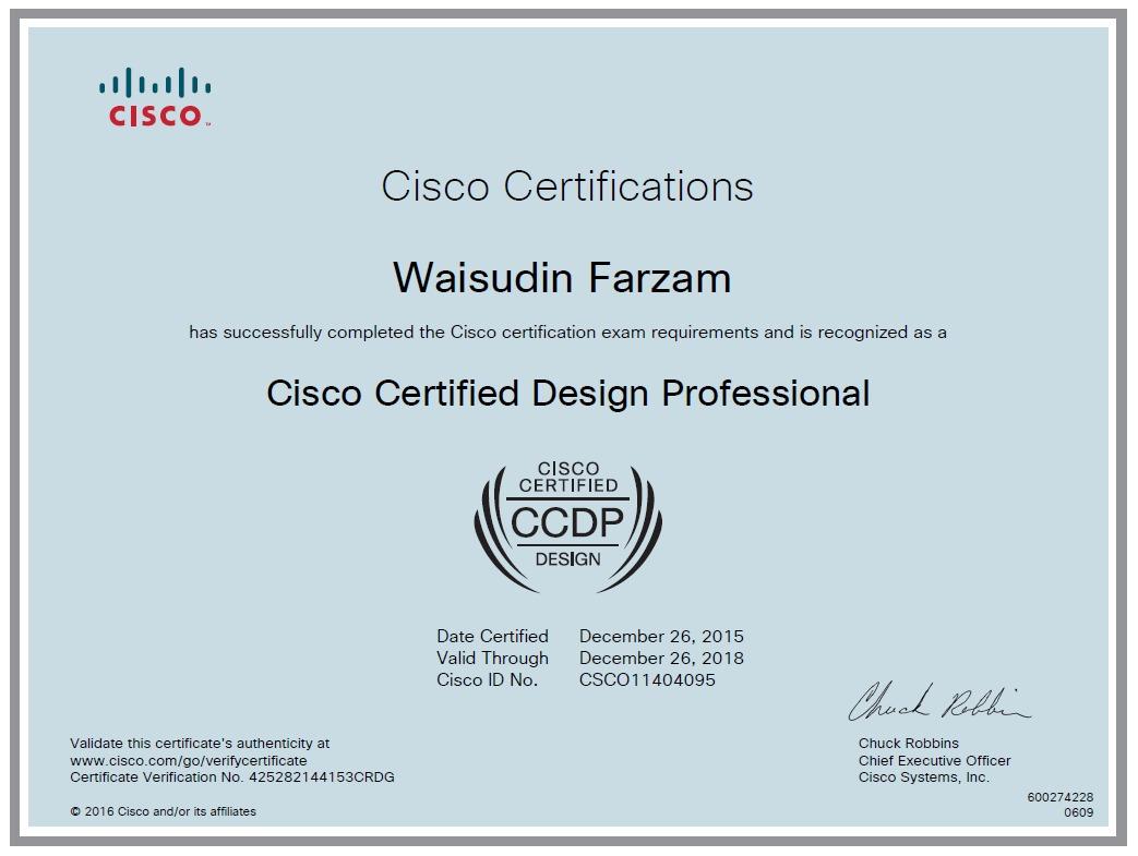Waisudin farzam bayt cisco certified design professional ccdp certificate 1betcityfo Choice Image