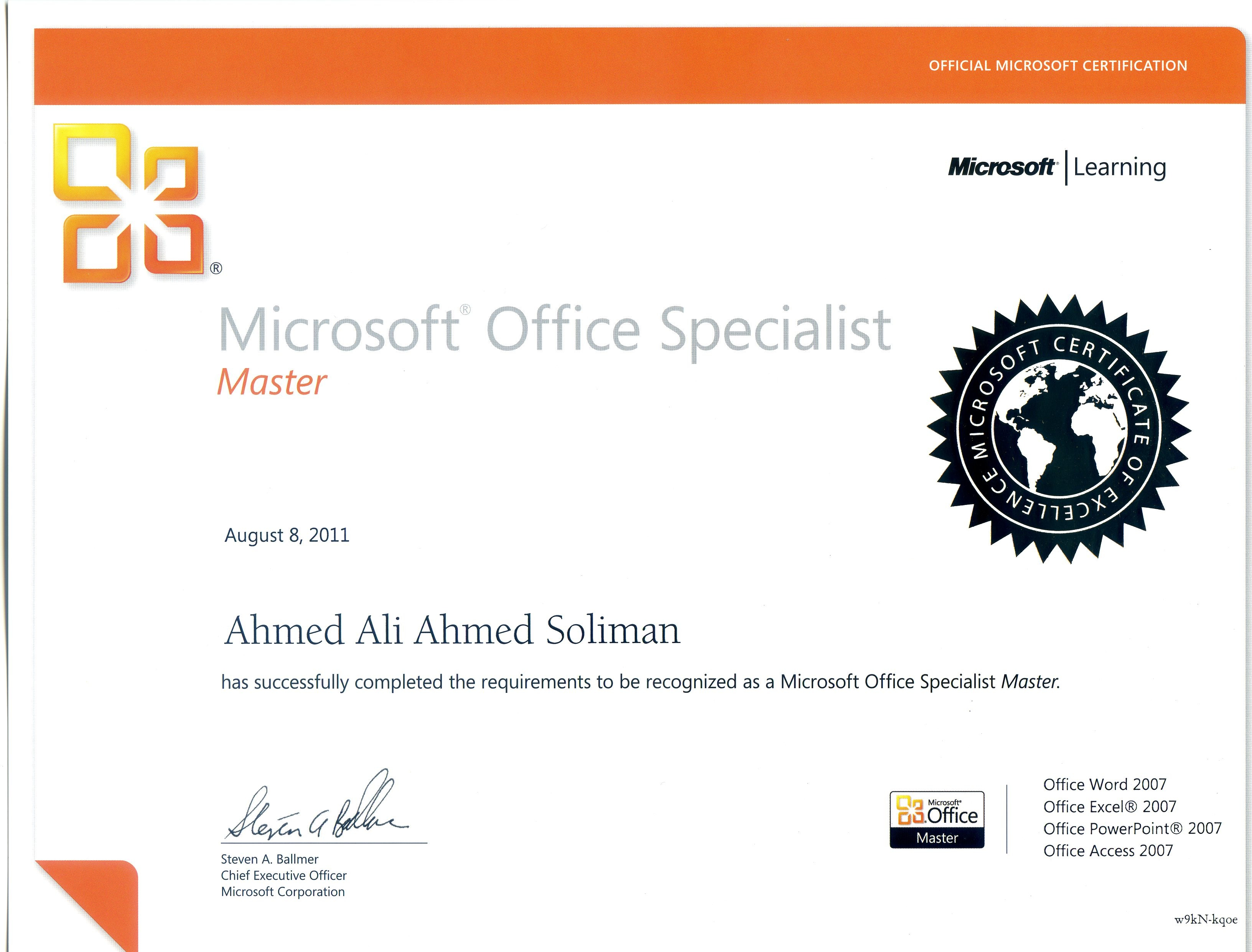 Ahmed soliman bayt microsoft office specialist master mosmaster certificate xflitez Image collections