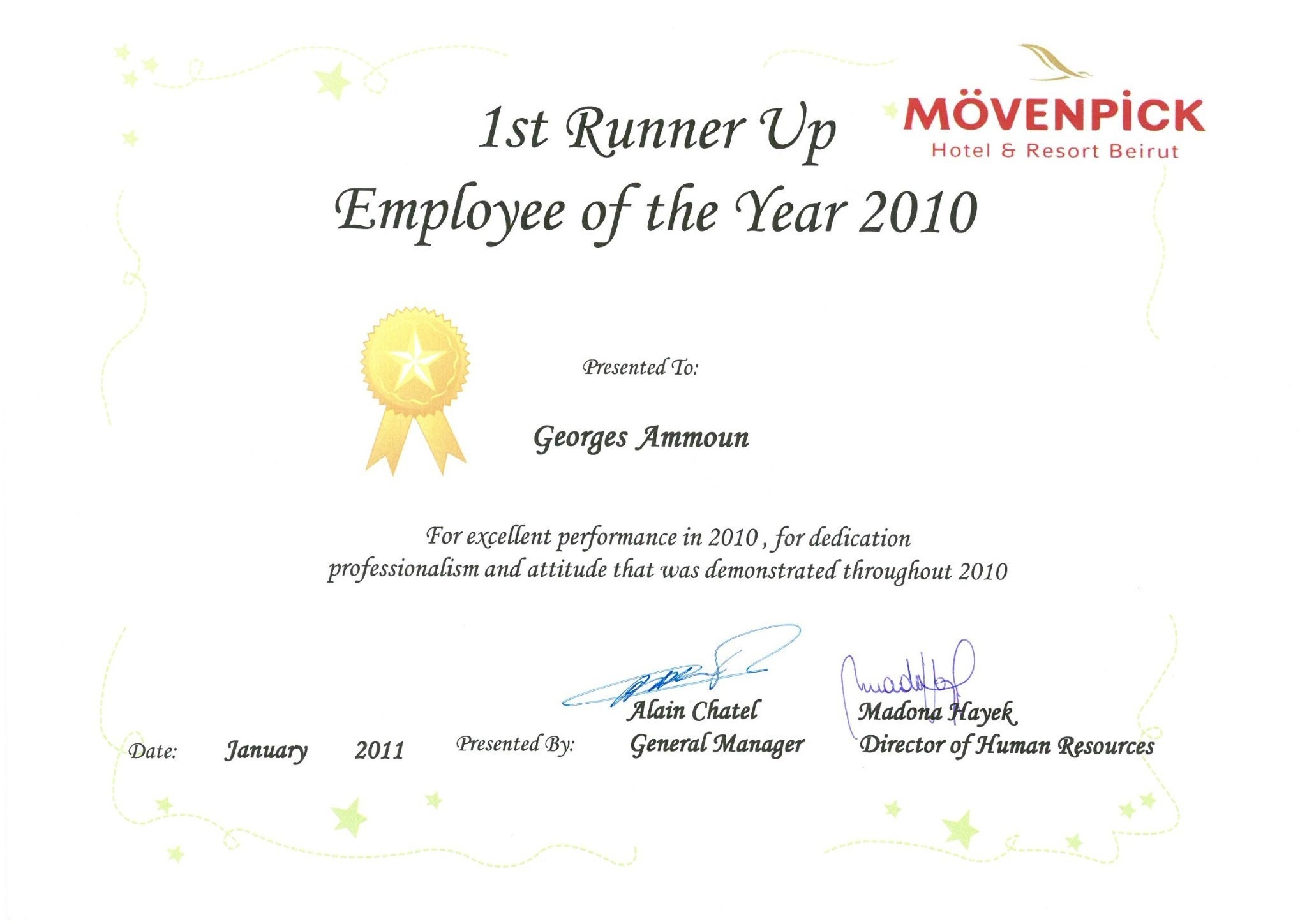 Georges ammoun bayt employee of the year 2010 certificate 1betcityfo Images