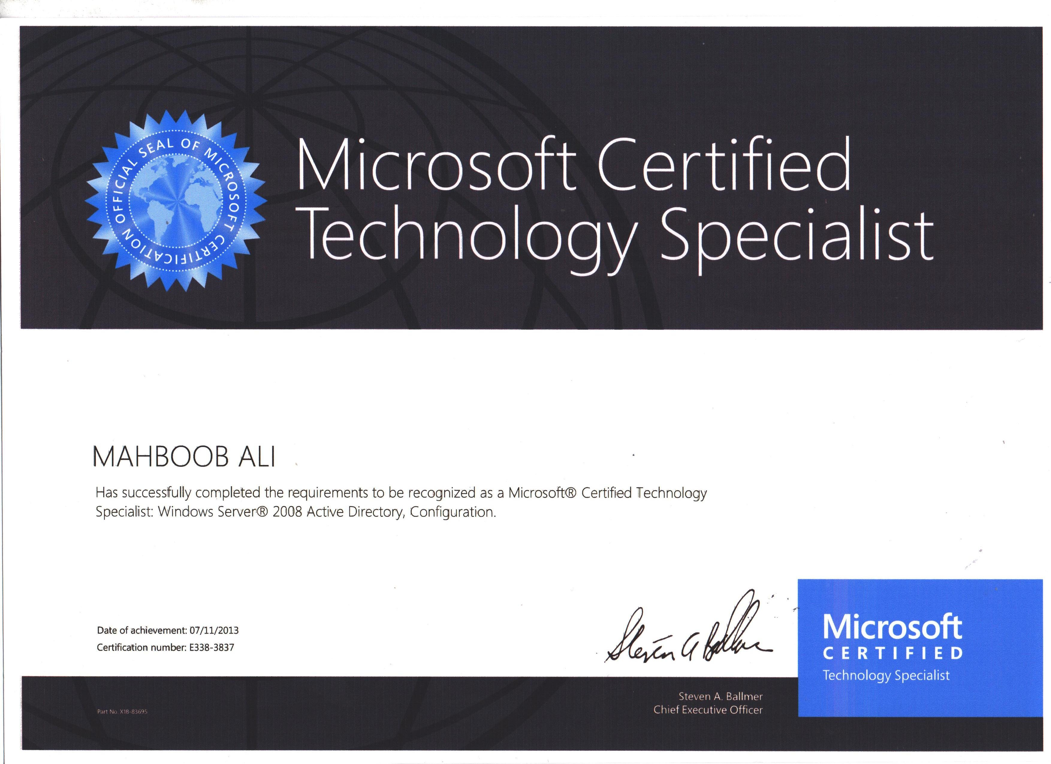 Microsoft certified technology specialist pertamini microsoft certified technology specialist 1betcityfo Gallery