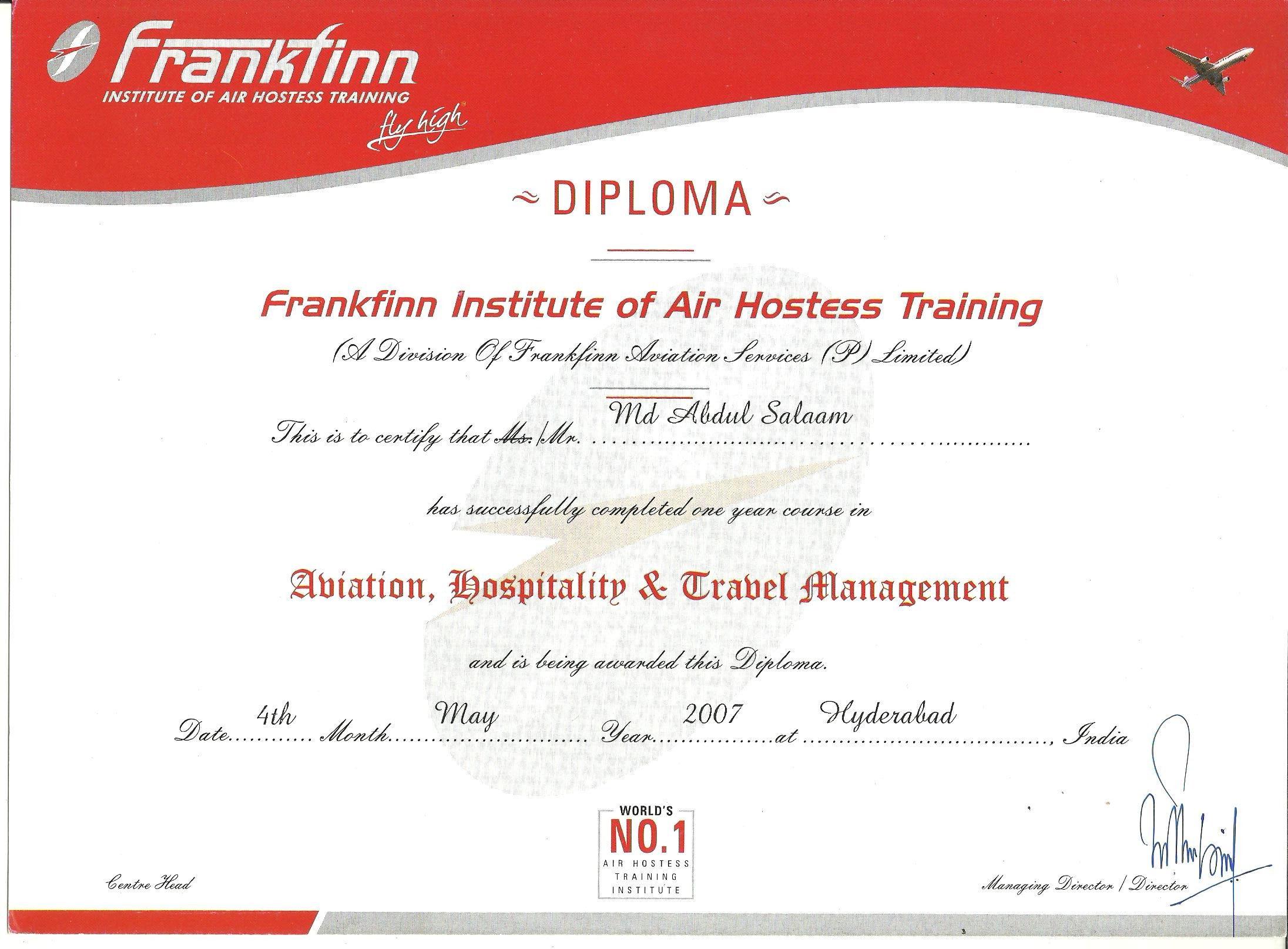 Abdul salam mohammed bayt diploma in aviation hospitality and travel management certificate xflitez Choice Image
