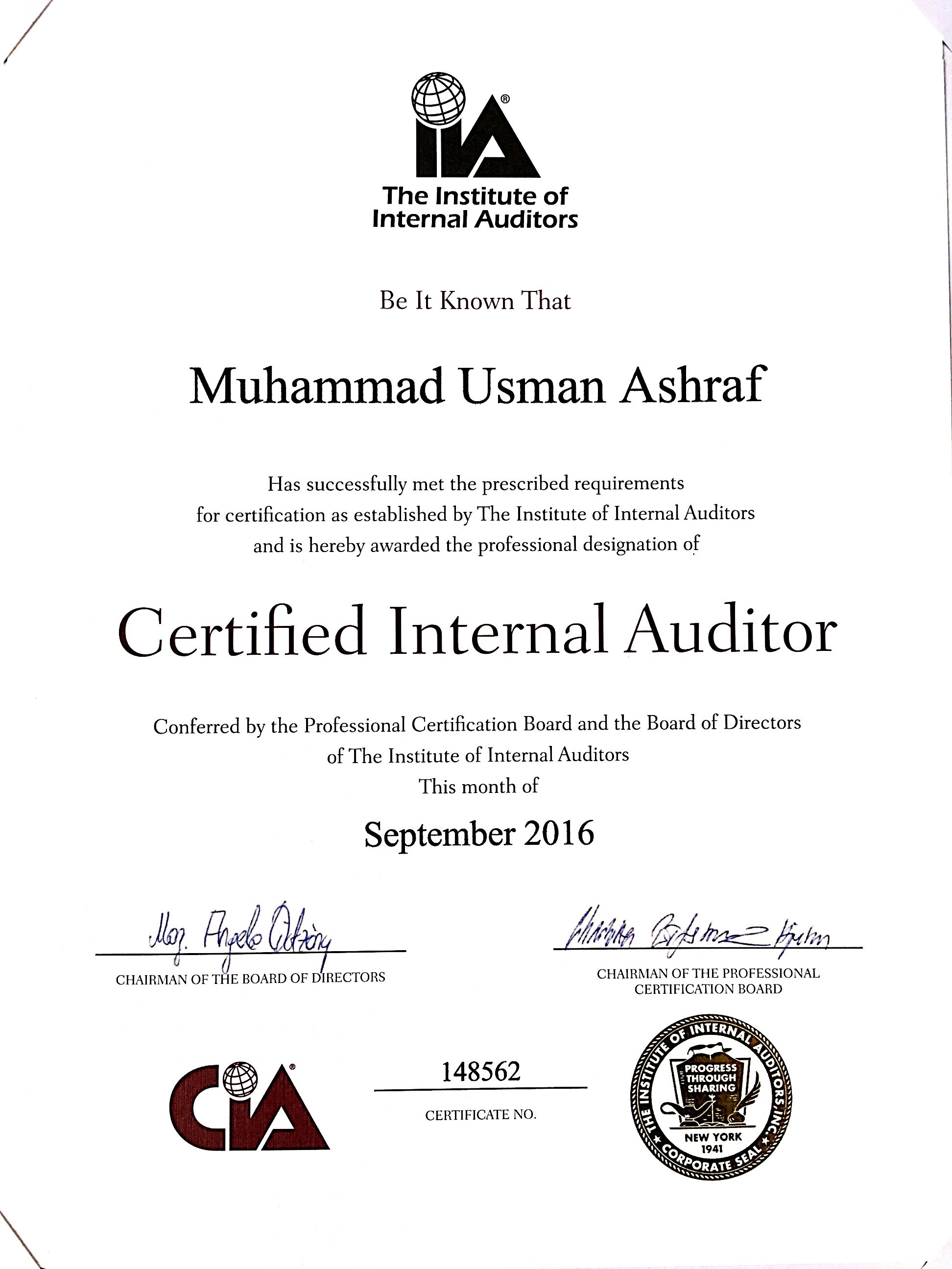 Certified Internal Auditor Certificate Related Keywords