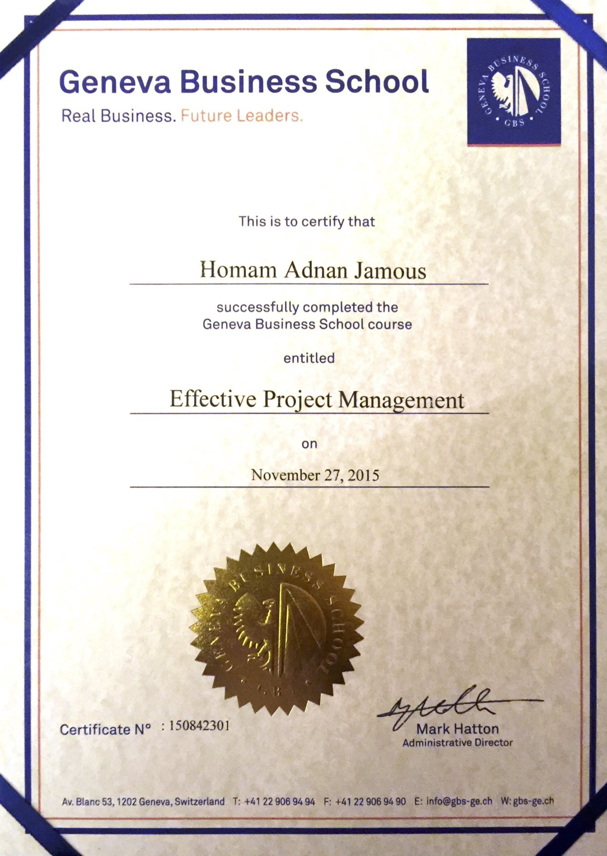 Homam jamous bayt effective project management certificate 1betcityfo Gallery