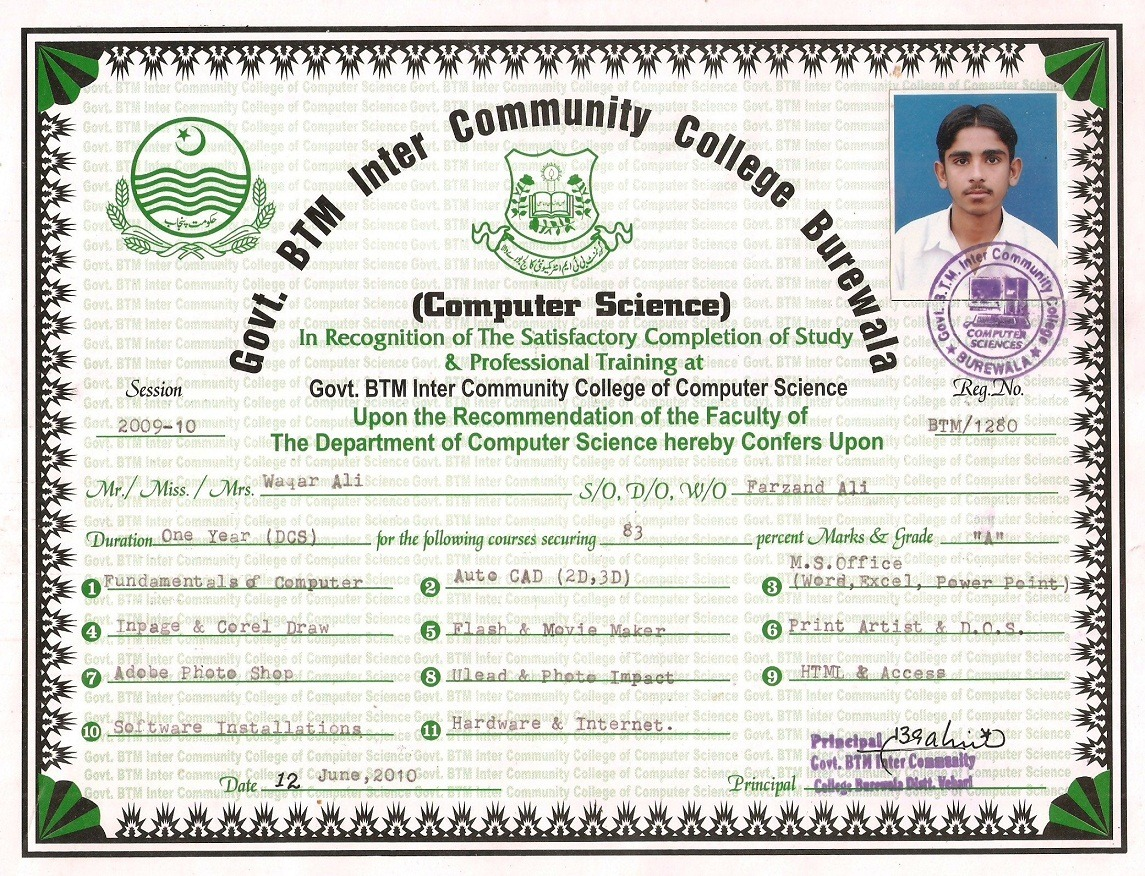 Waqar ali bayt diploma in computer science certificate 1betcityfo Images