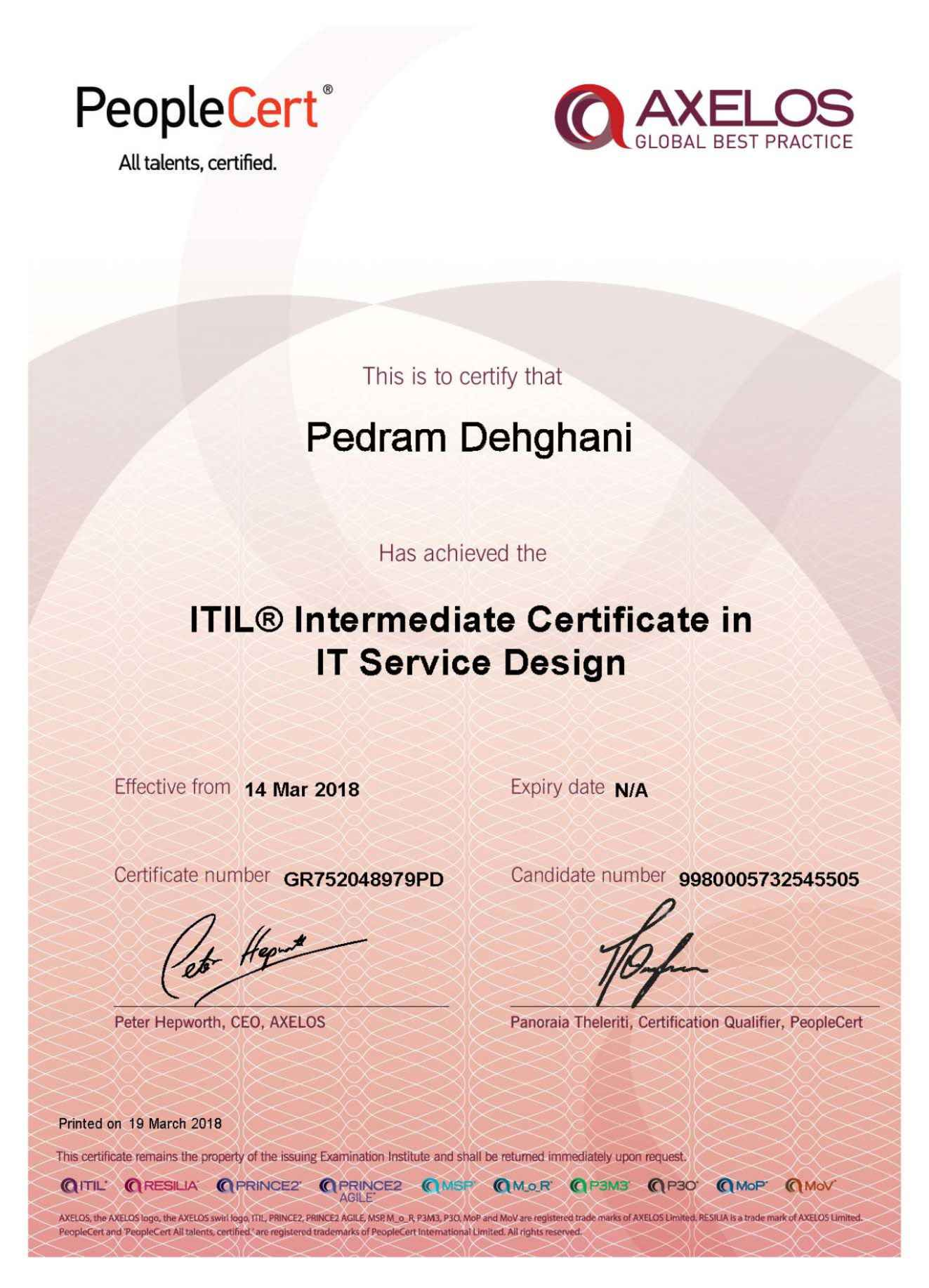 Itil Certification Test Images Certificate Design Template Free