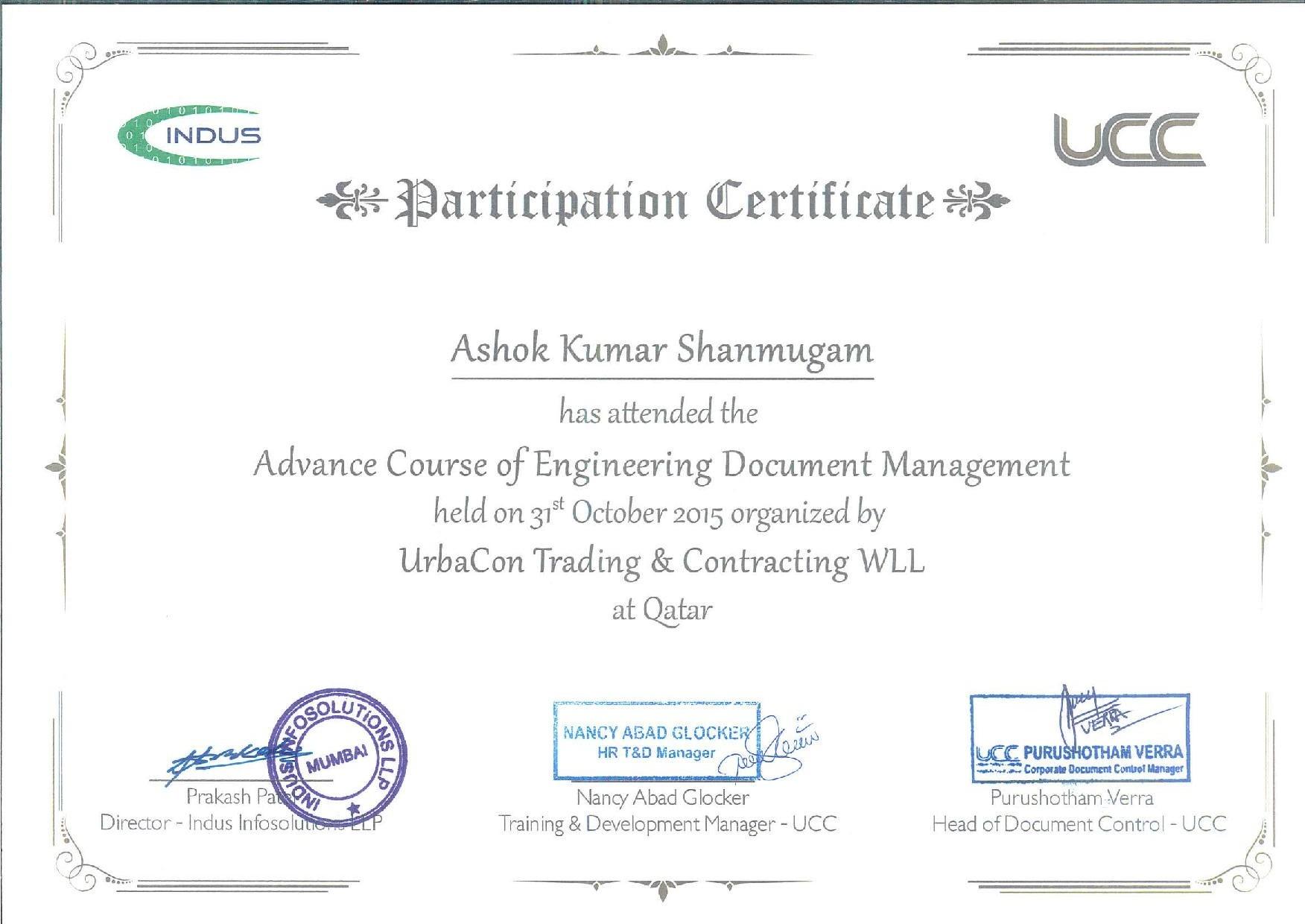 Ashok kumar shanmugam bayt advance engineering document management certificate 1betcityfo Images